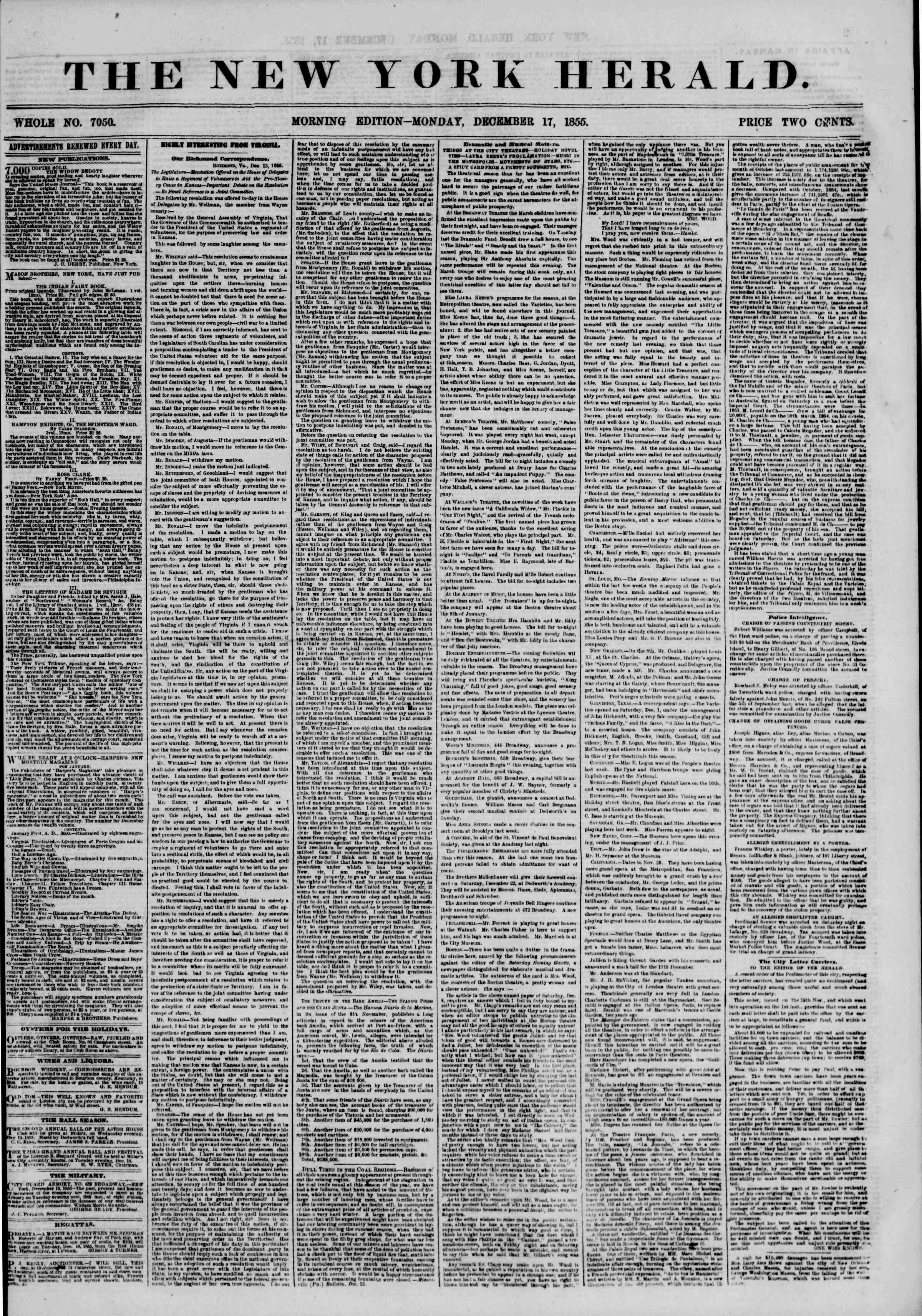 Newspaper of The New York Herald dated December 17, 1855 Page 1