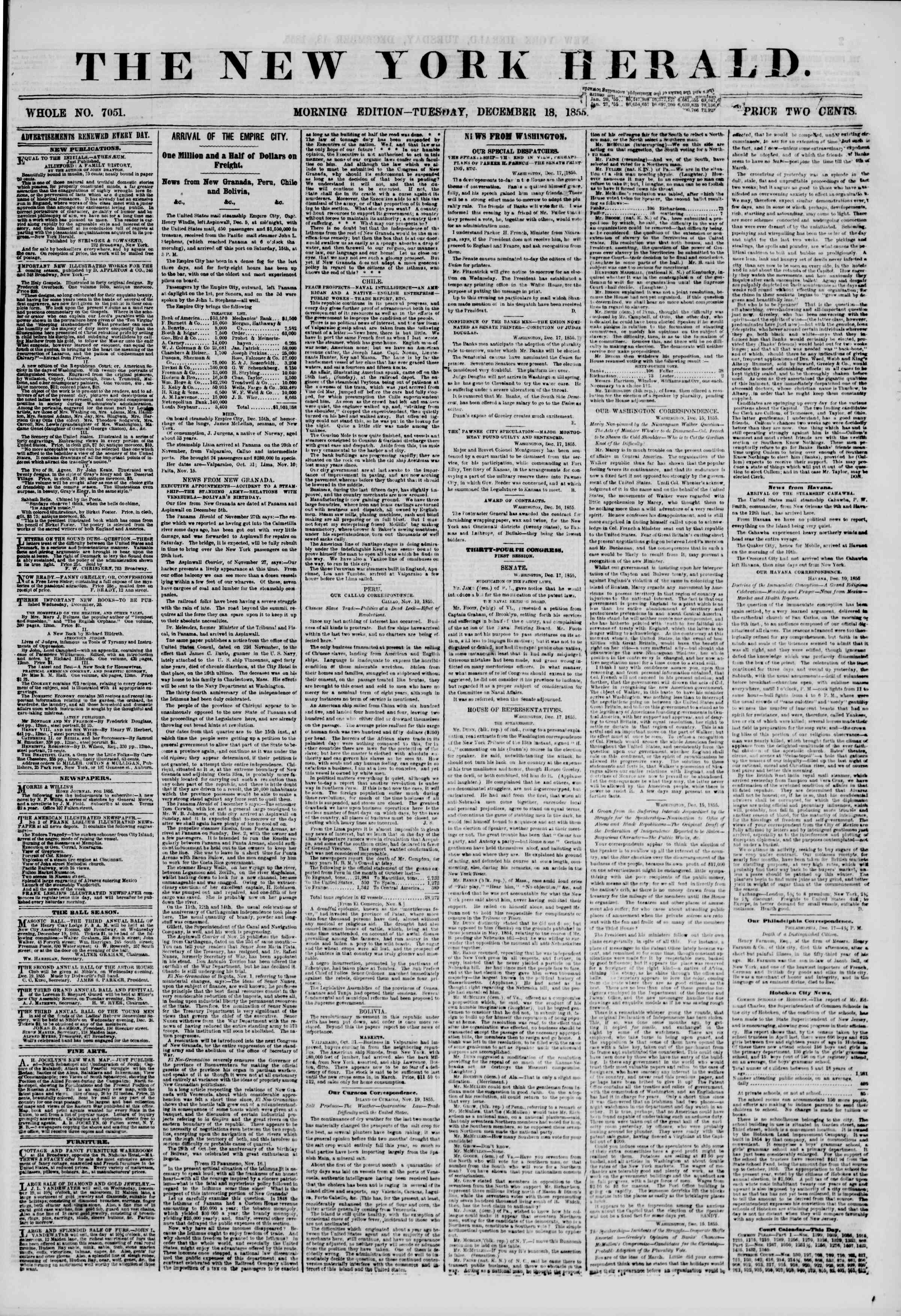 Newspaper of The New York Herald dated December 18, 1855 Page 1