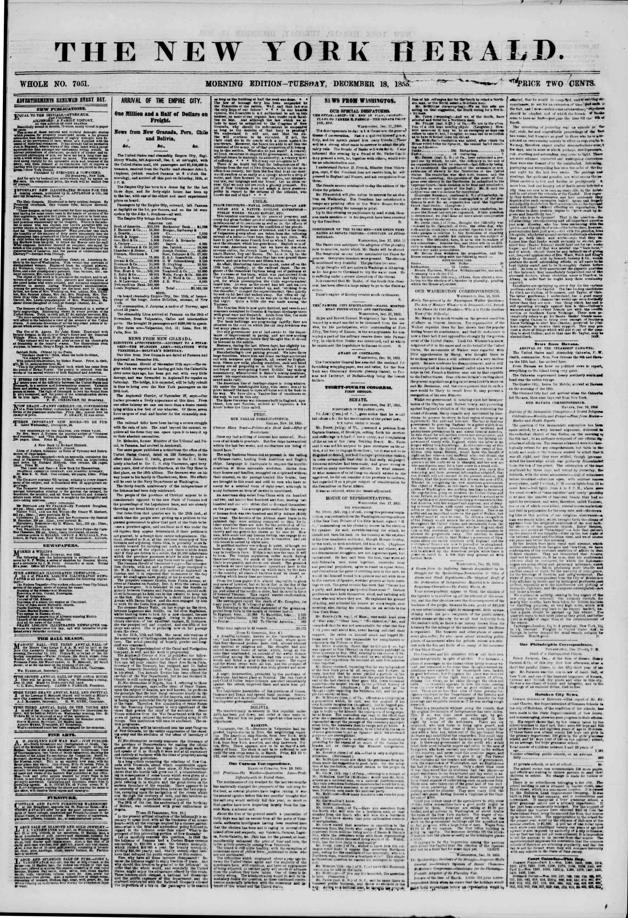 Newspaper of The New York Herald dated December 18, 1855 Page 2