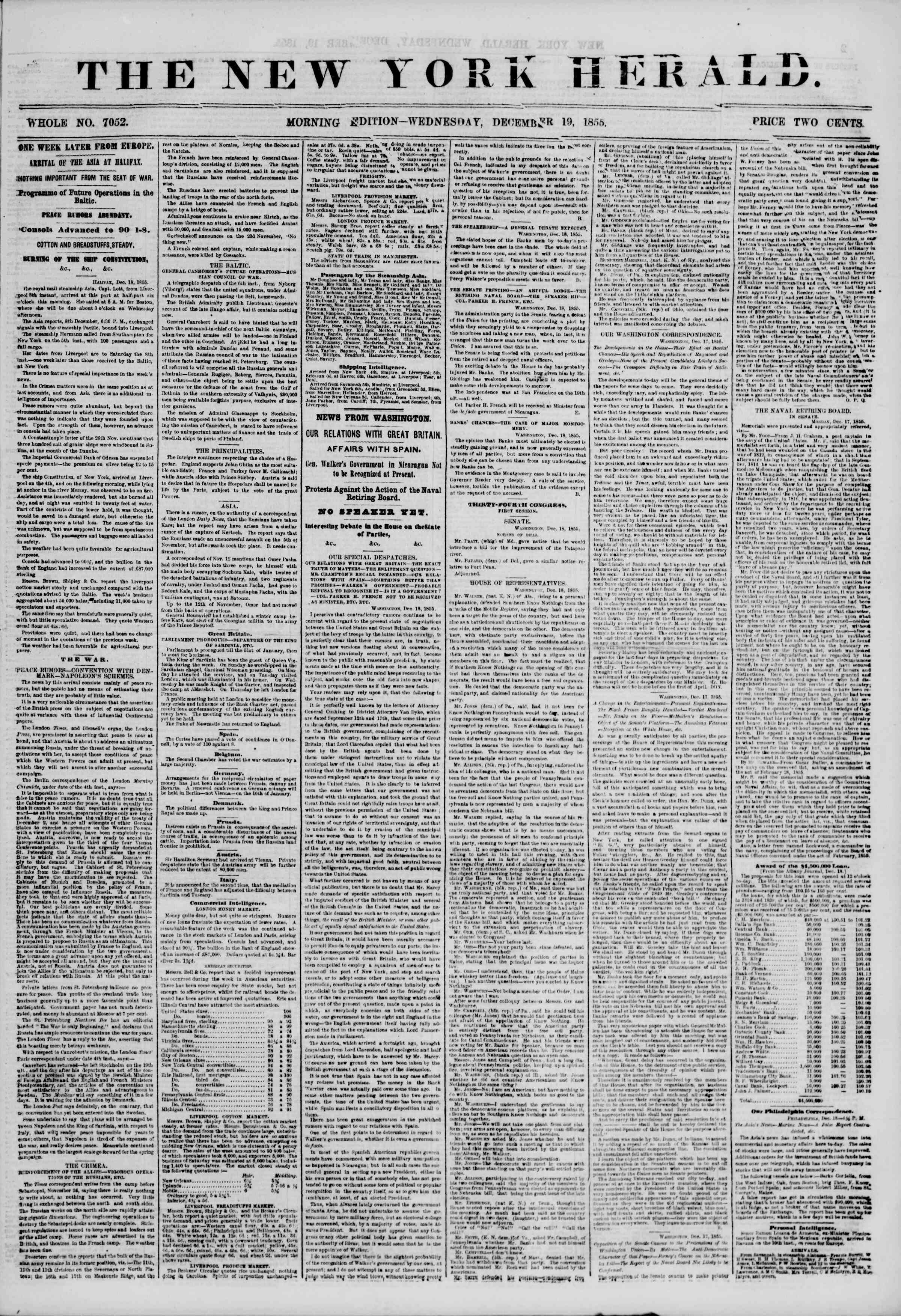Newspaper of The New York Herald dated December 19, 1855 Page 1