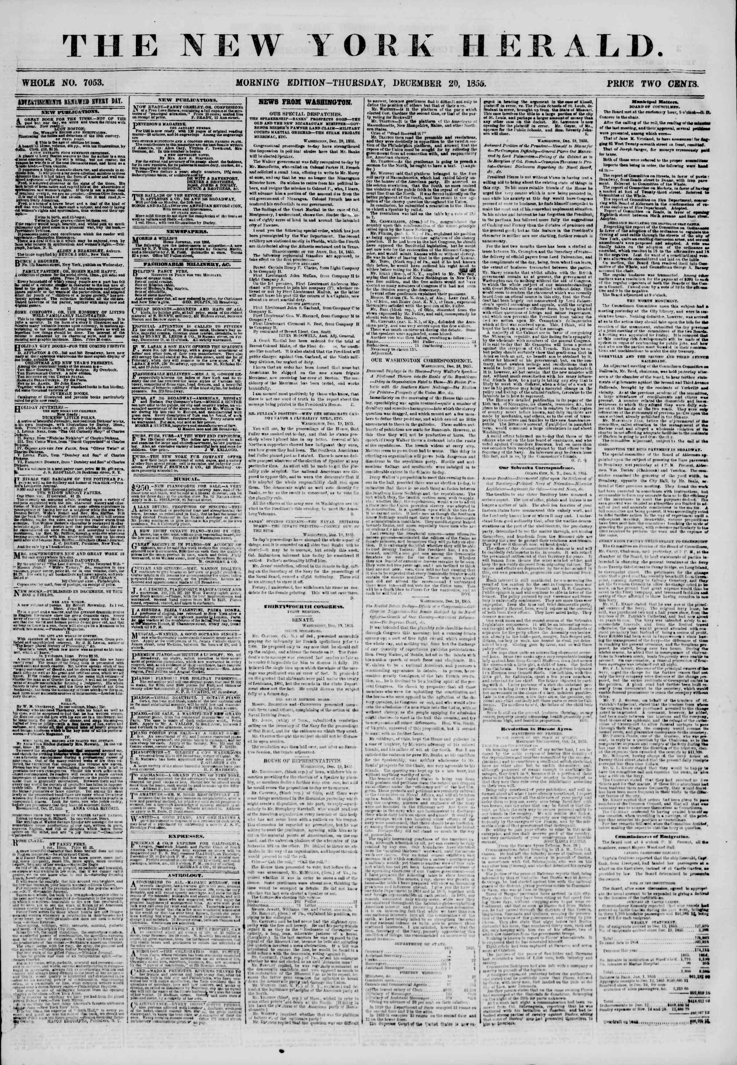 Newspaper of The New York Herald dated December 20, 1855 Page 1