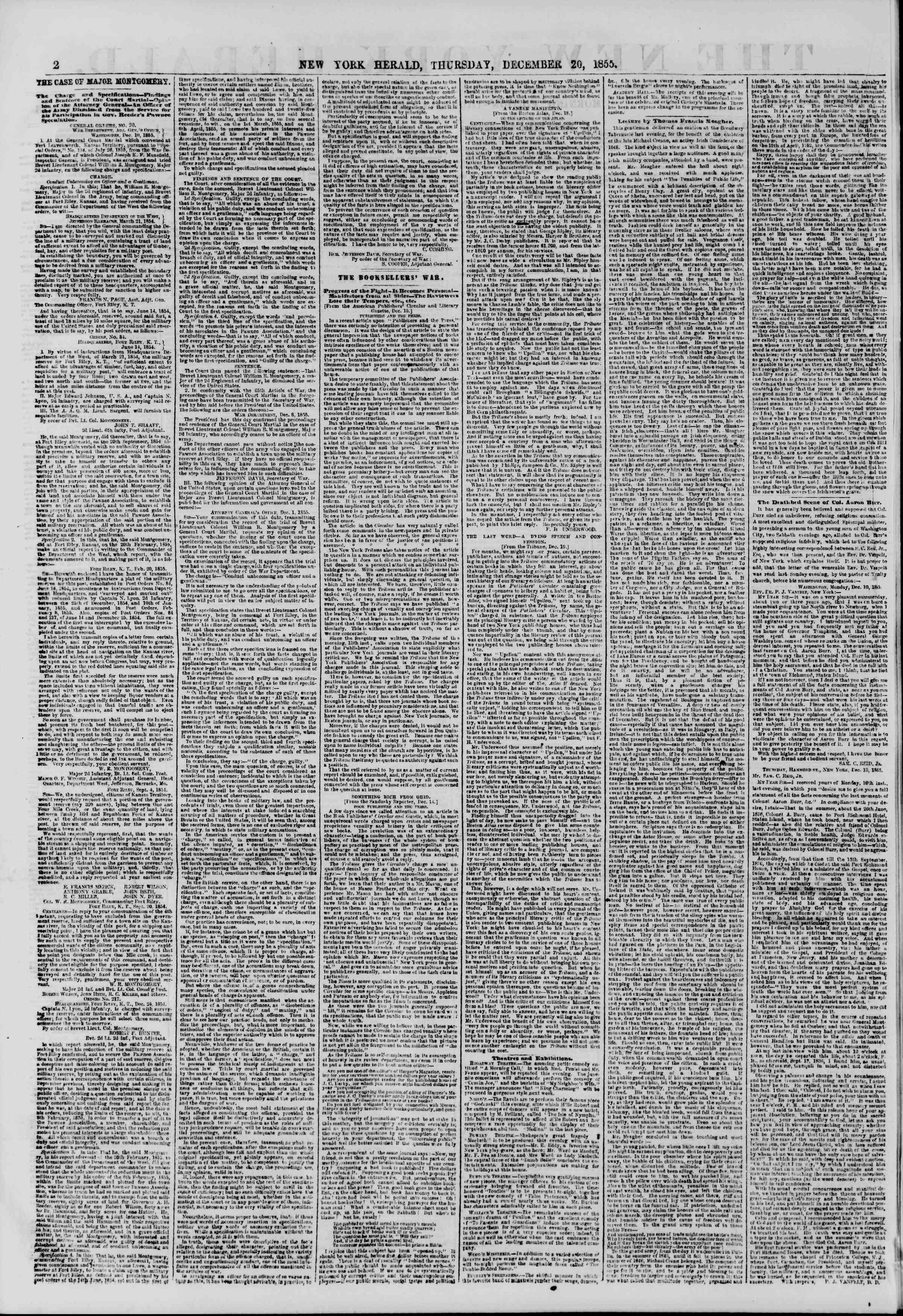 Newspaper of The New York Herald dated 20 Aralık 1855 Page 2