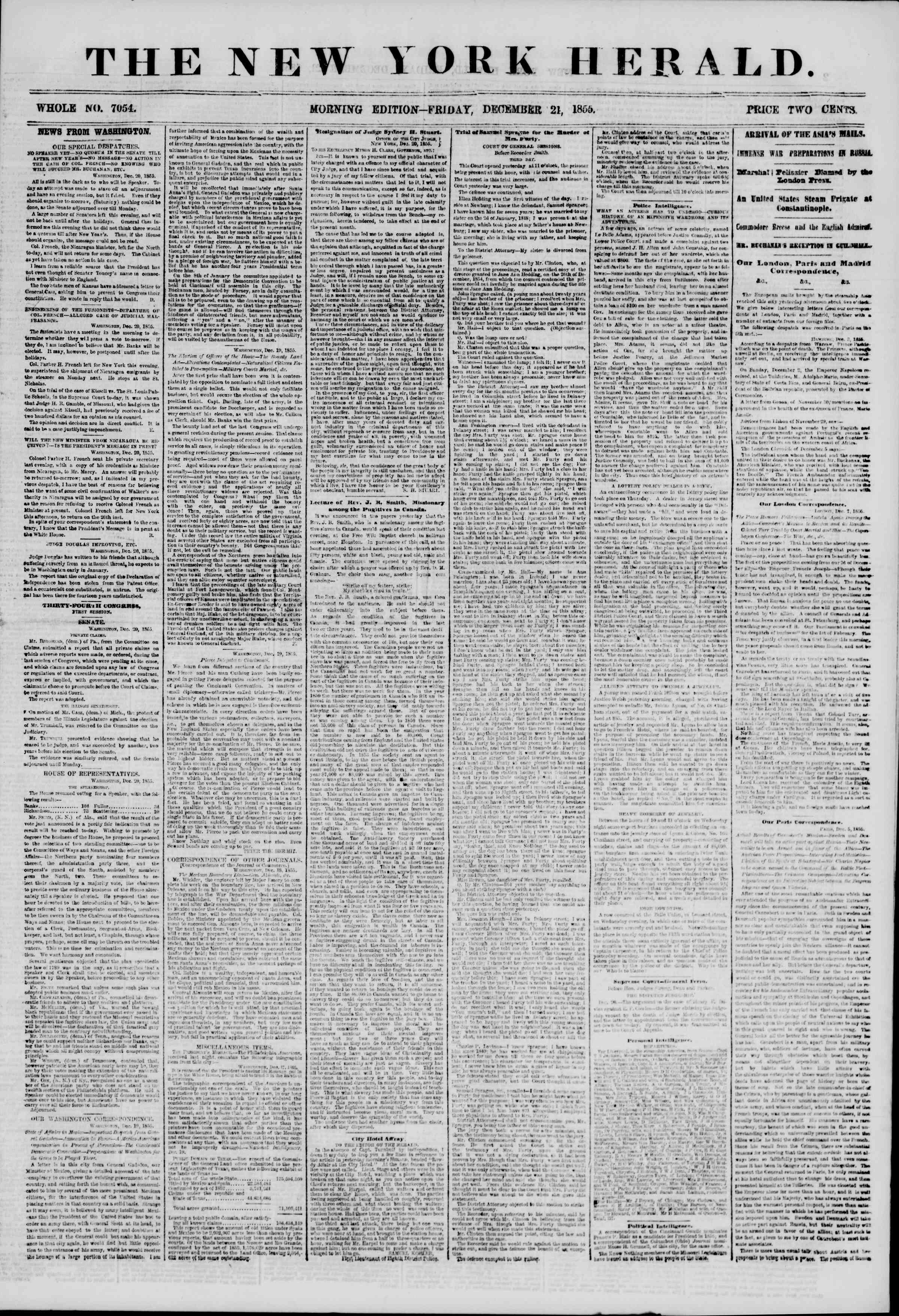 Newspaper of The New York Herald dated December 21, 1855 Page 1