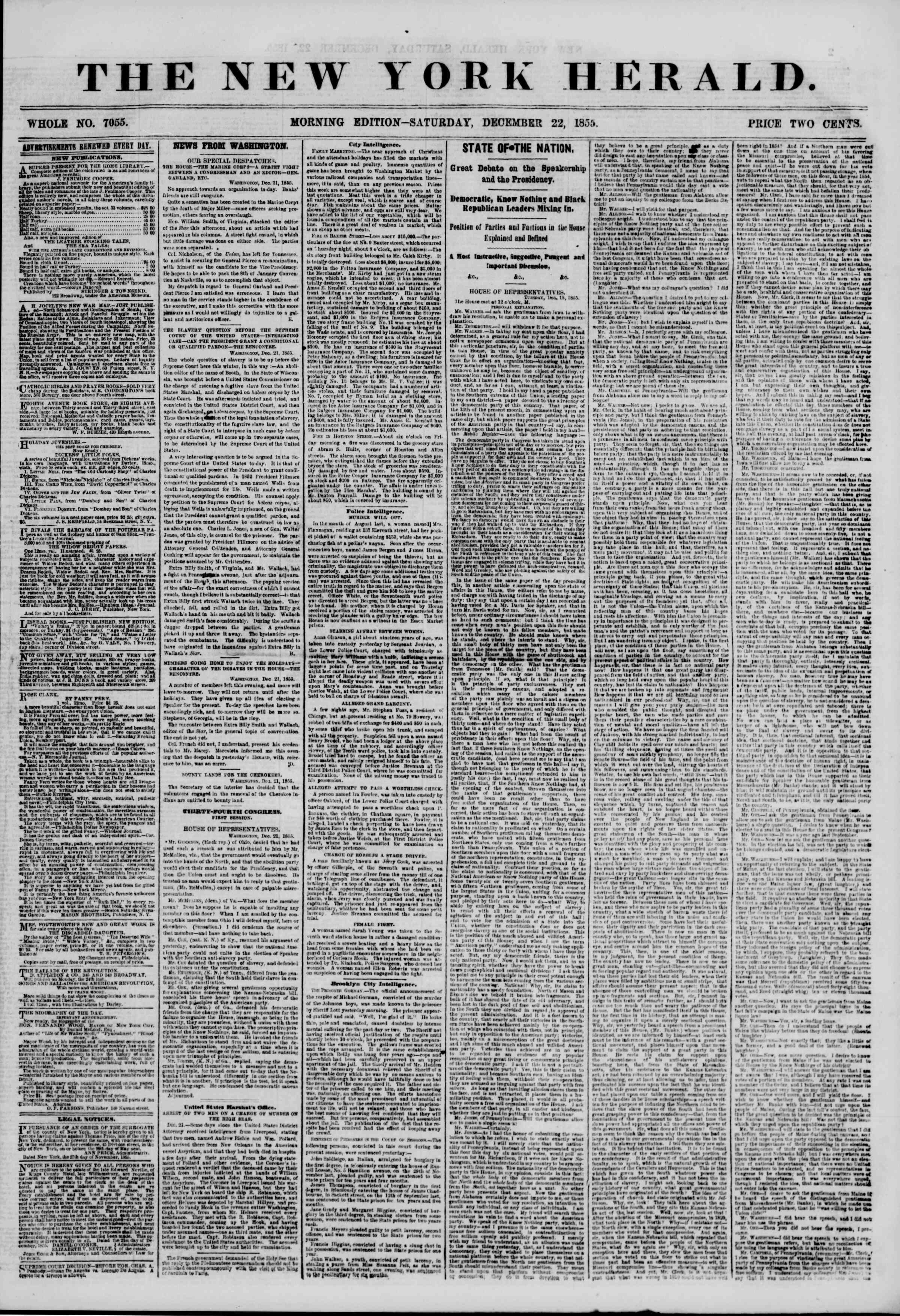 Newspaper of The New York Herald dated December 22, 1855 Page 1