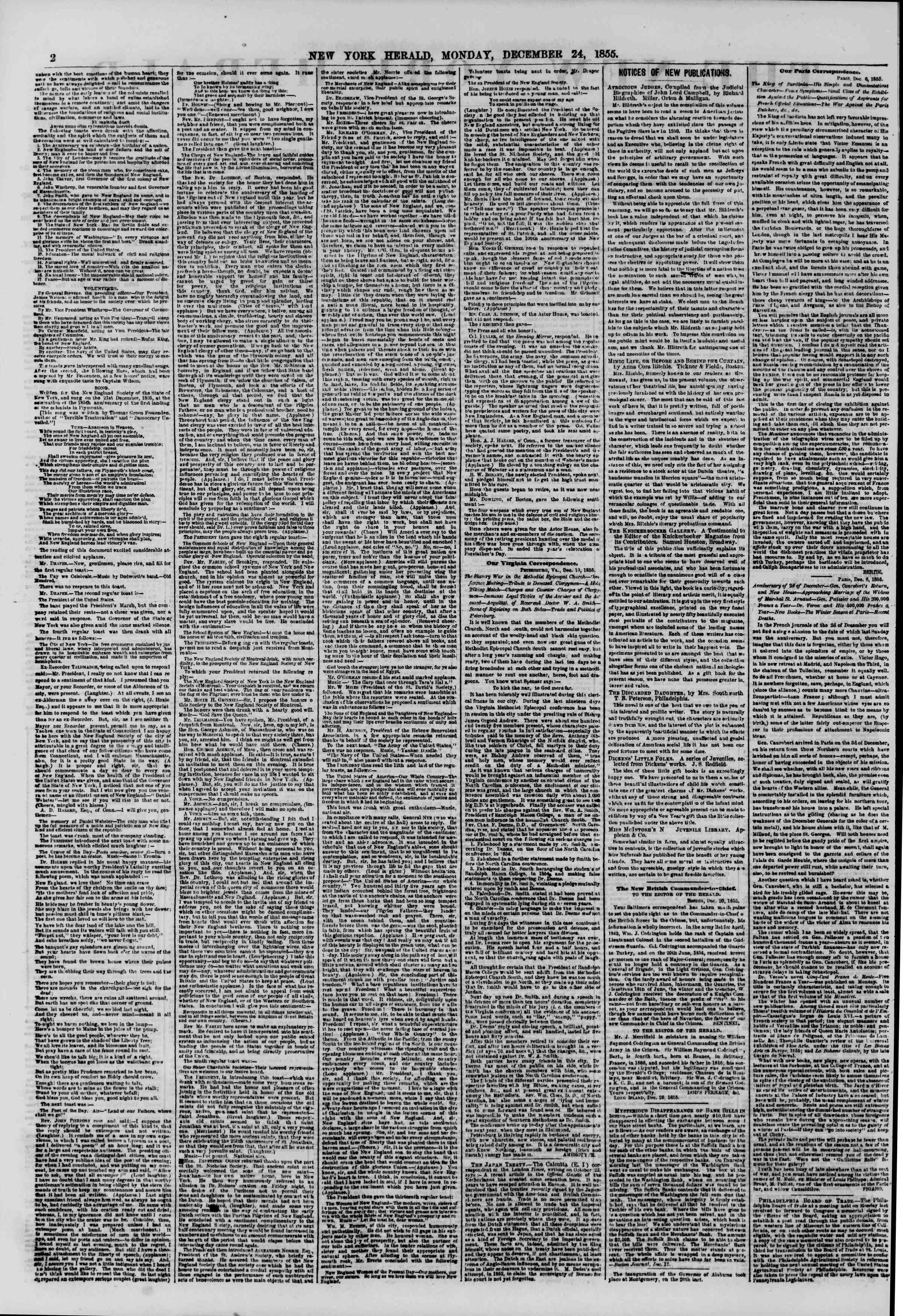 Newspaper of The New York Herald dated 24 Aralık 1855 Page 2