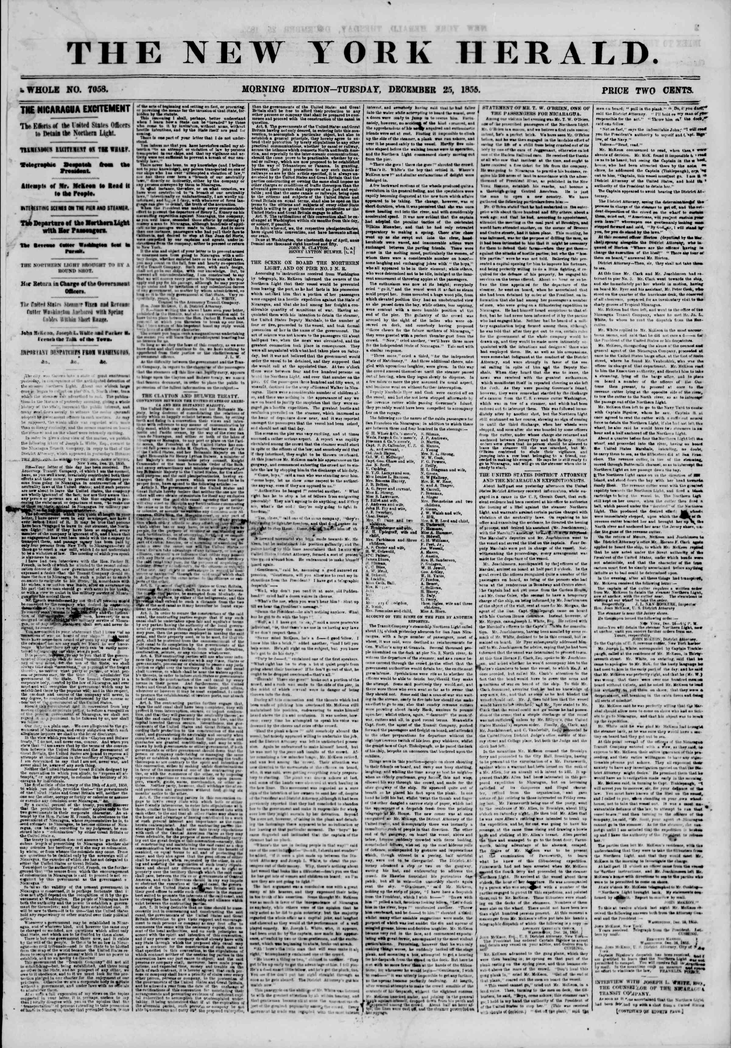 Newspaper of The New York Herald dated December 25, 1855 Page 1