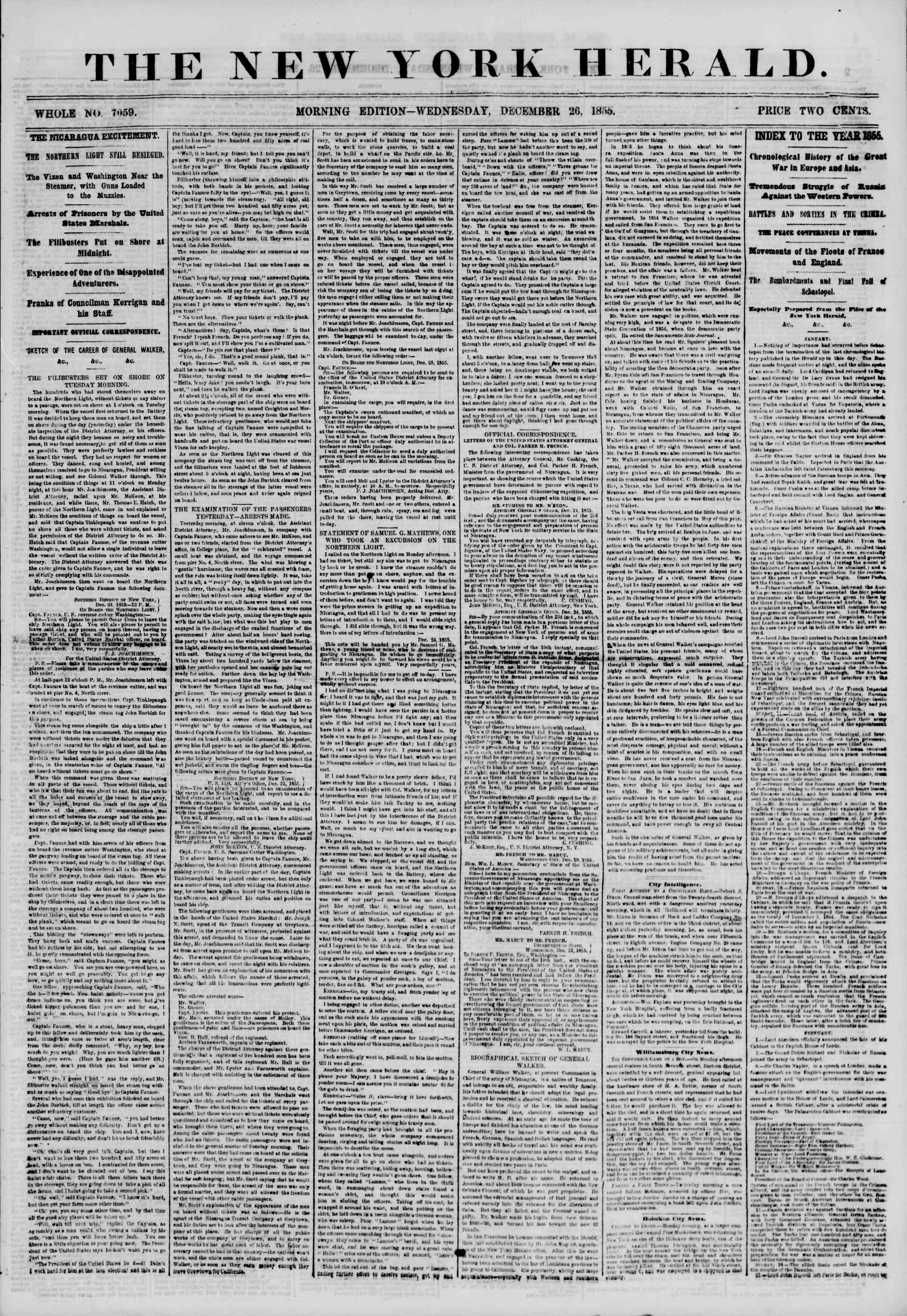 Newspaper of The New York Herald dated December 26, 1855 Page 1