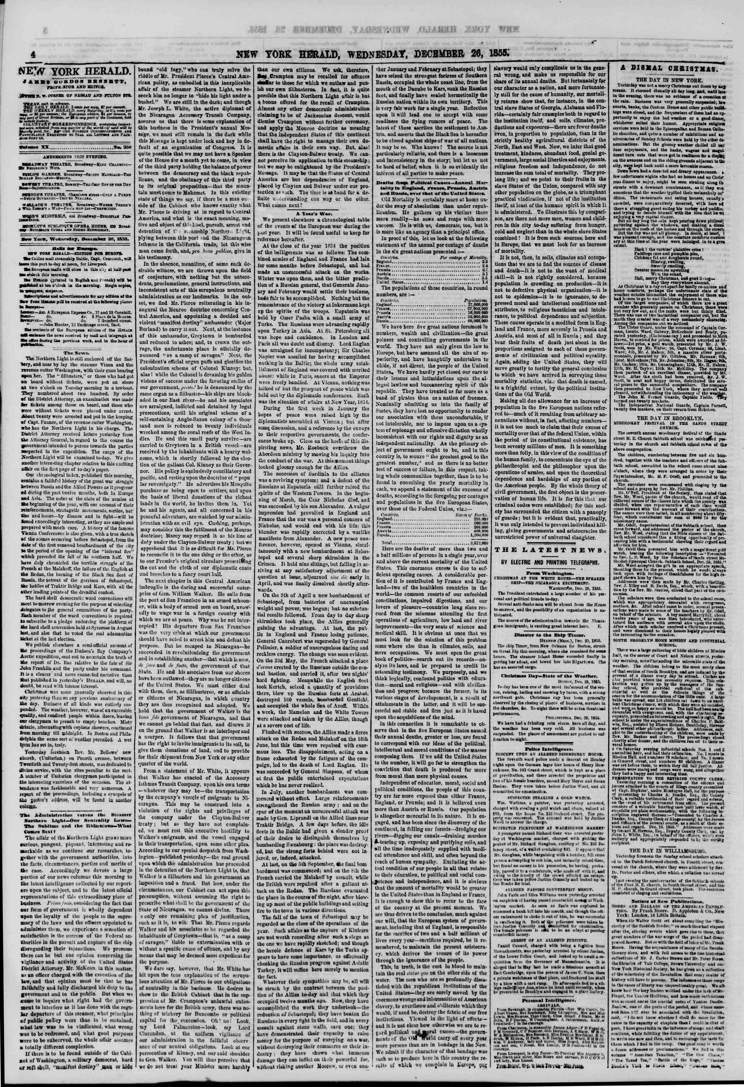 Newspaper of The New York Herald dated December 26, 1855 Page 4