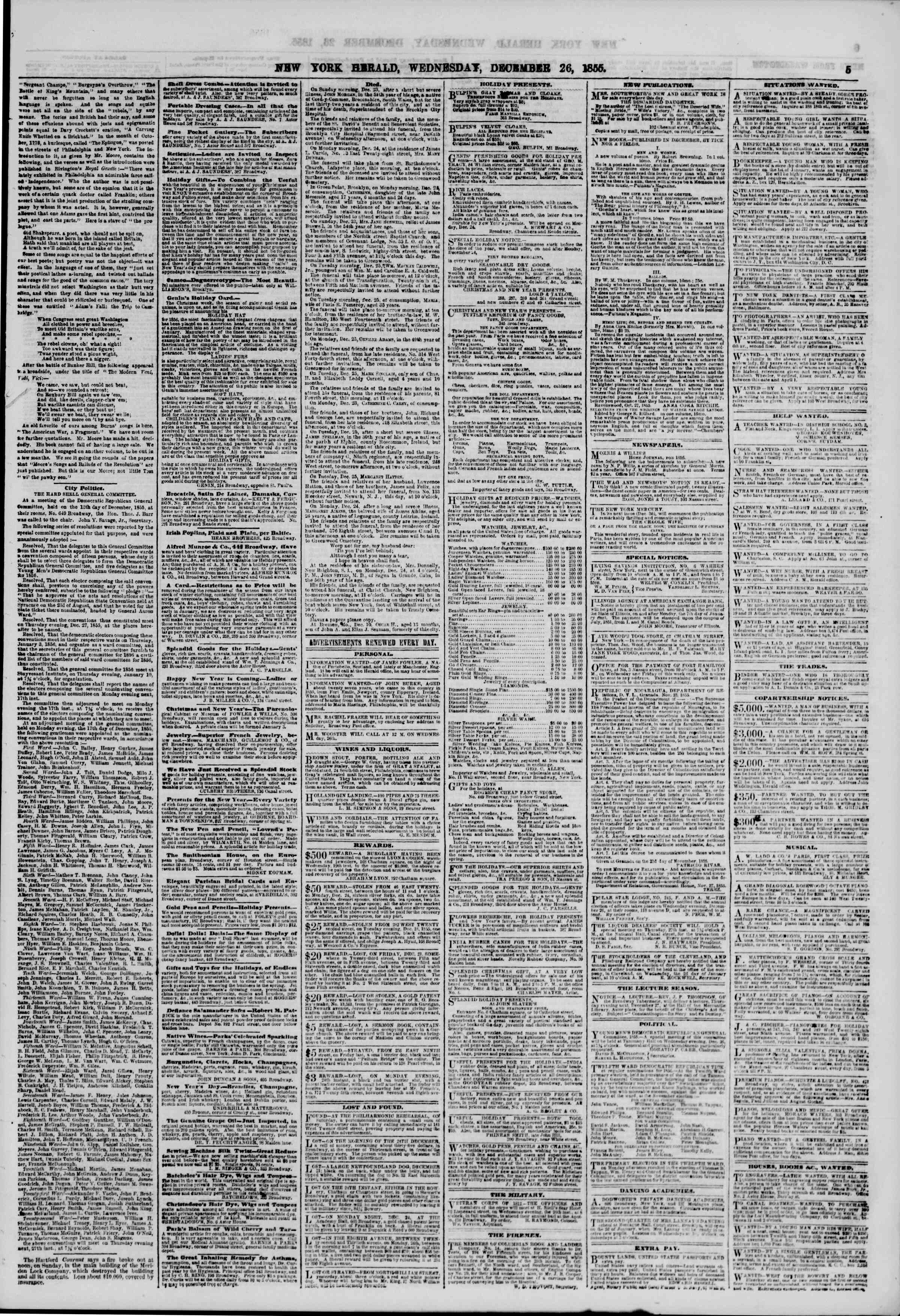 Newspaper of The New York Herald dated December 26, 1855 Page 5