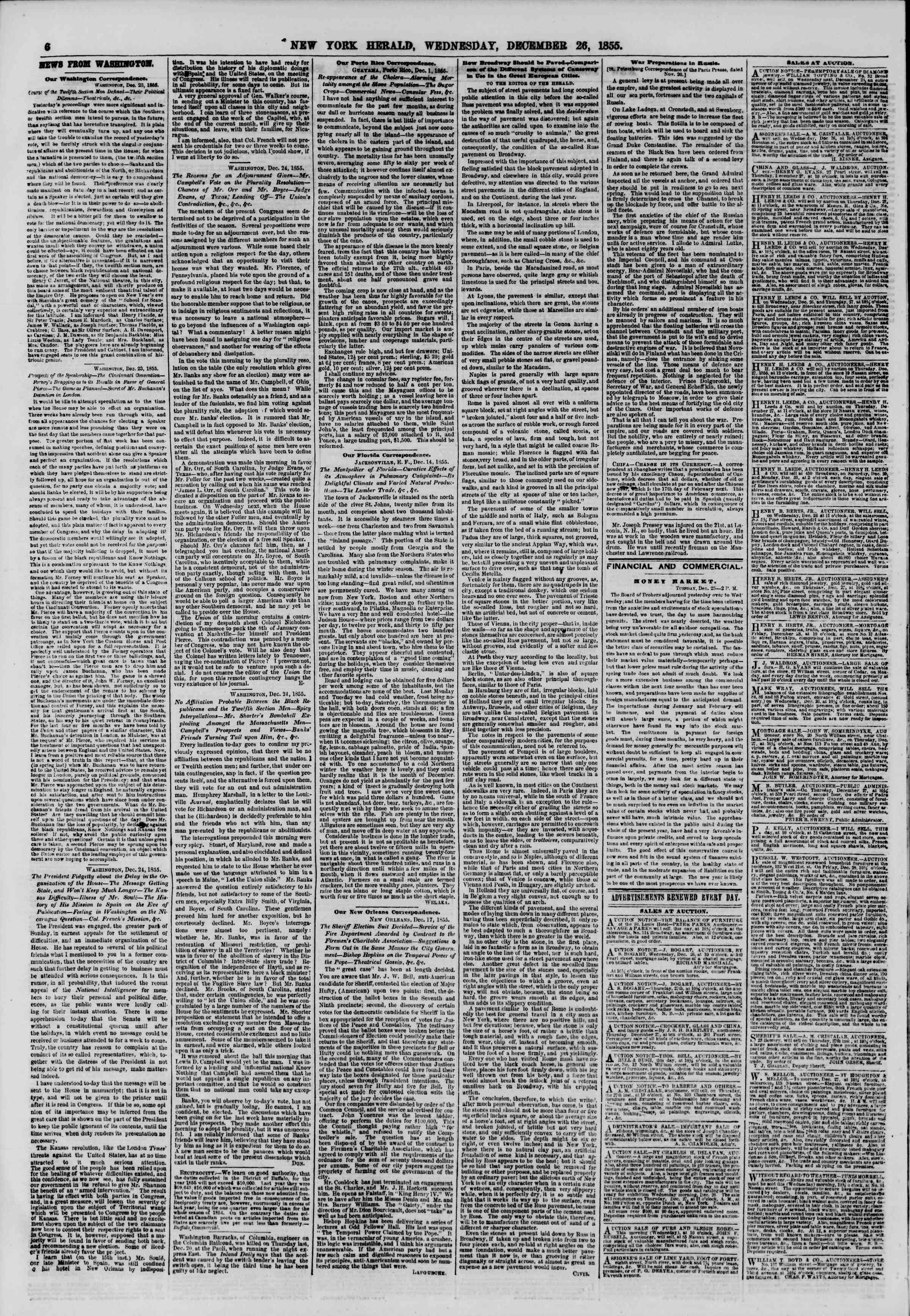 Newspaper of The New York Herald dated December 26, 1855 Page 6