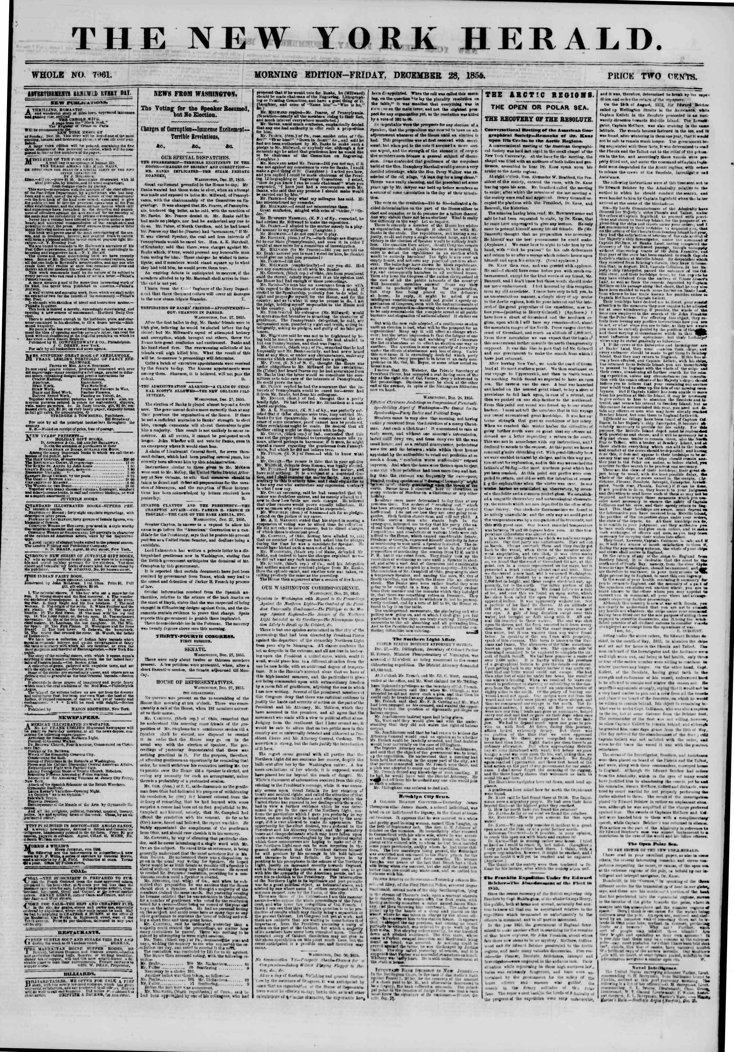 Newspaper of The New York Herald dated December 28, 1855 Page 1