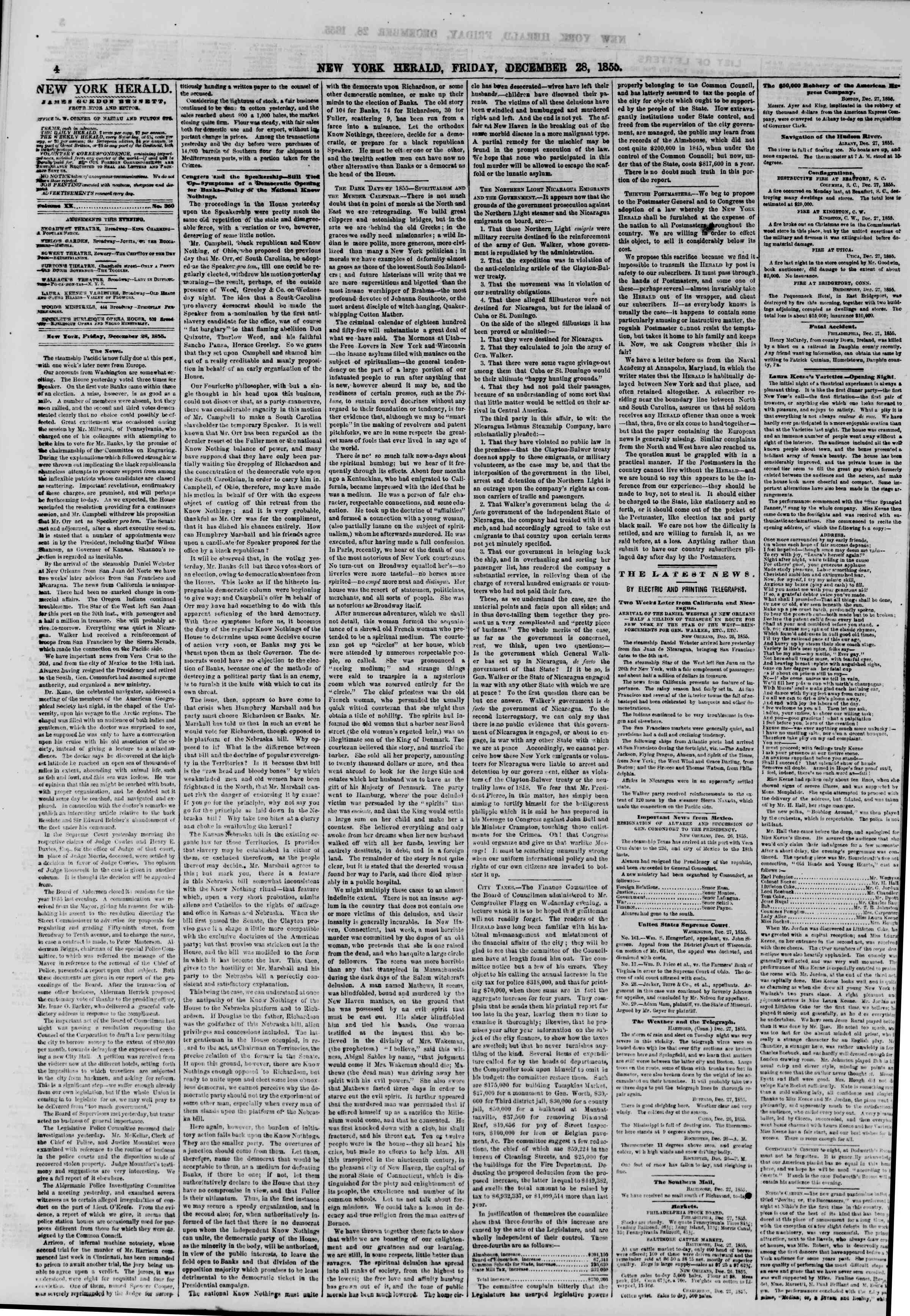 Newspaper of The New York Herald dated December 28, 1855 Page 4