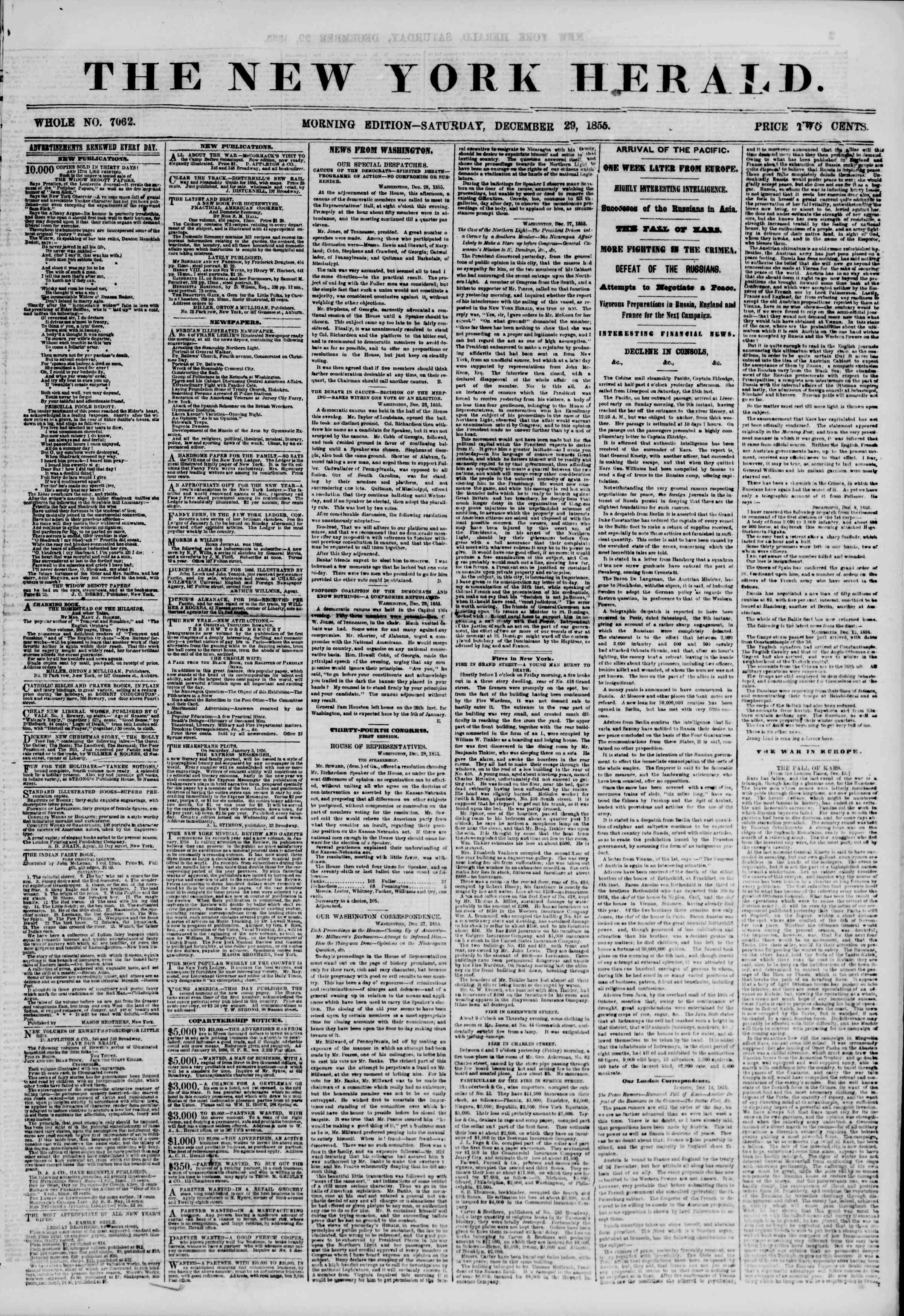 Newspaper of The New York Herald dated December 29, 1855 Page 1