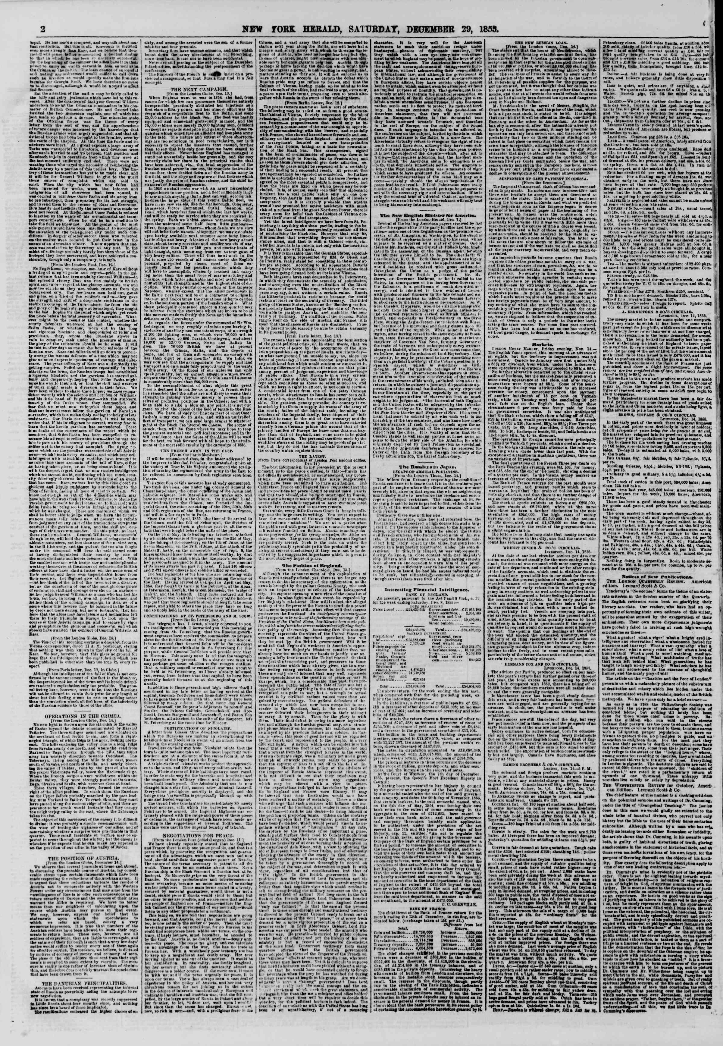 Newspaper of The New York Herald dated December 29, 1855 Page 2
