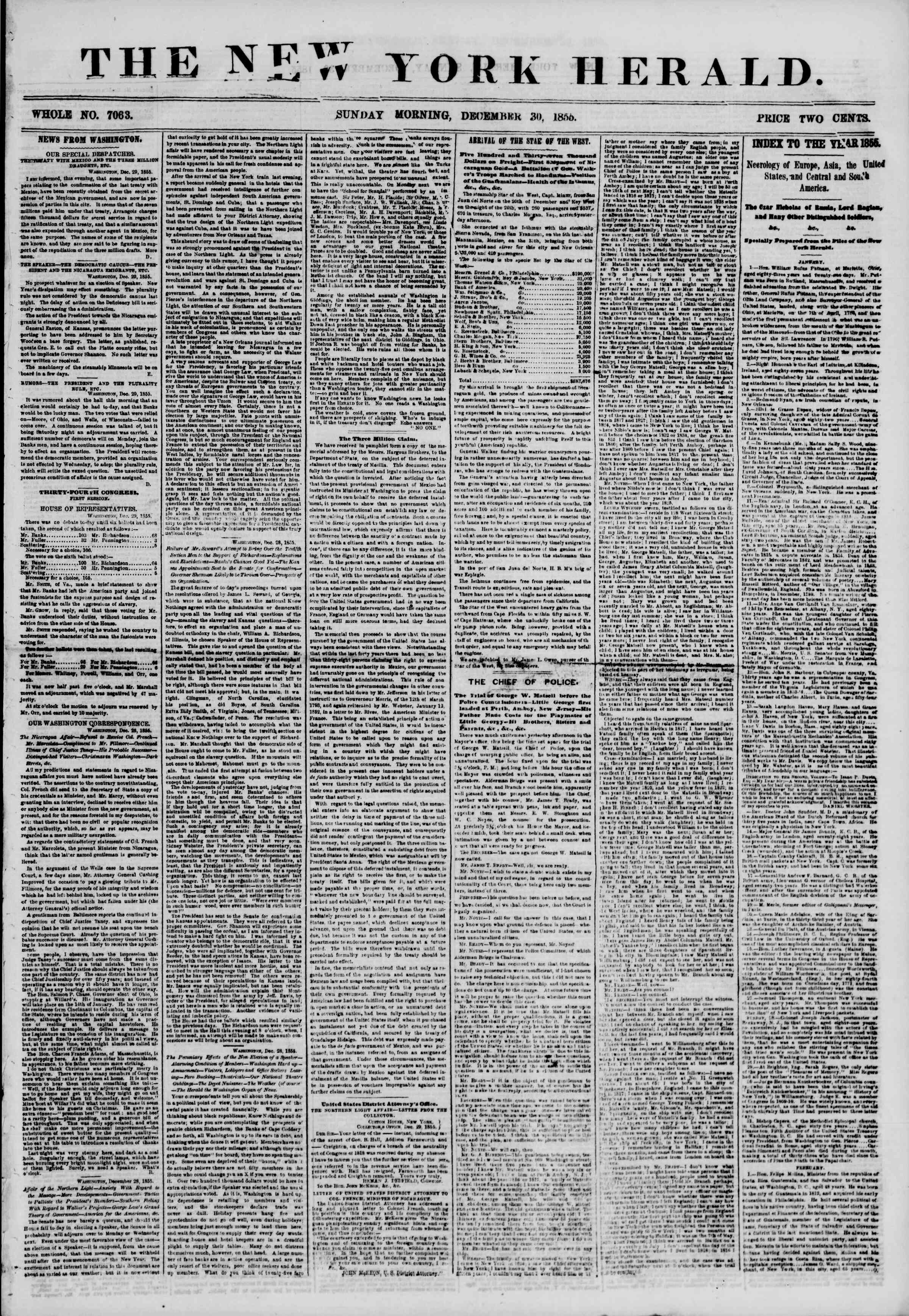 Newspaper of The New York Herald dated December 30, 1855 Page 1