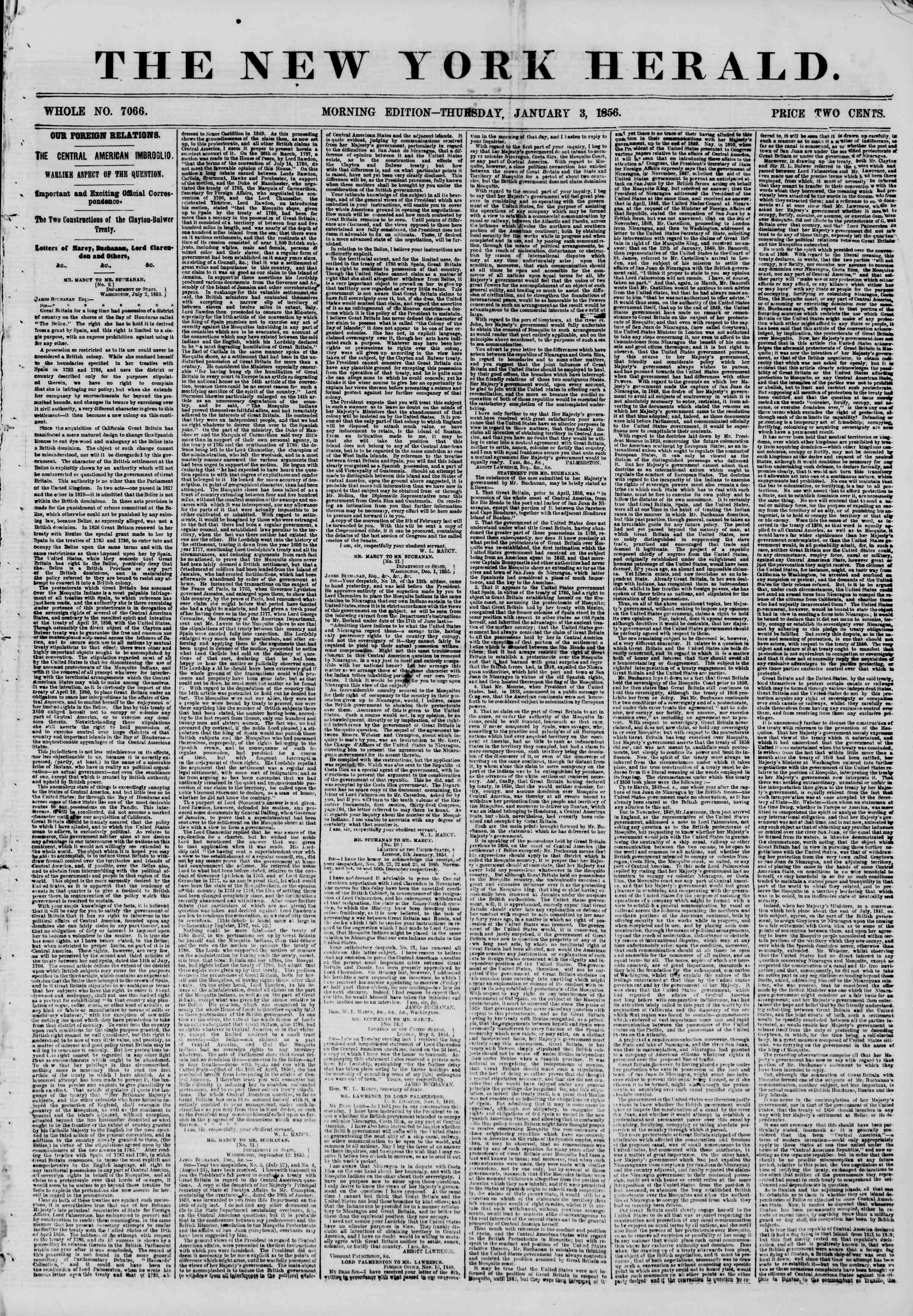 Newspaper of The New York Herald dated January 3, 1856 Page 1
