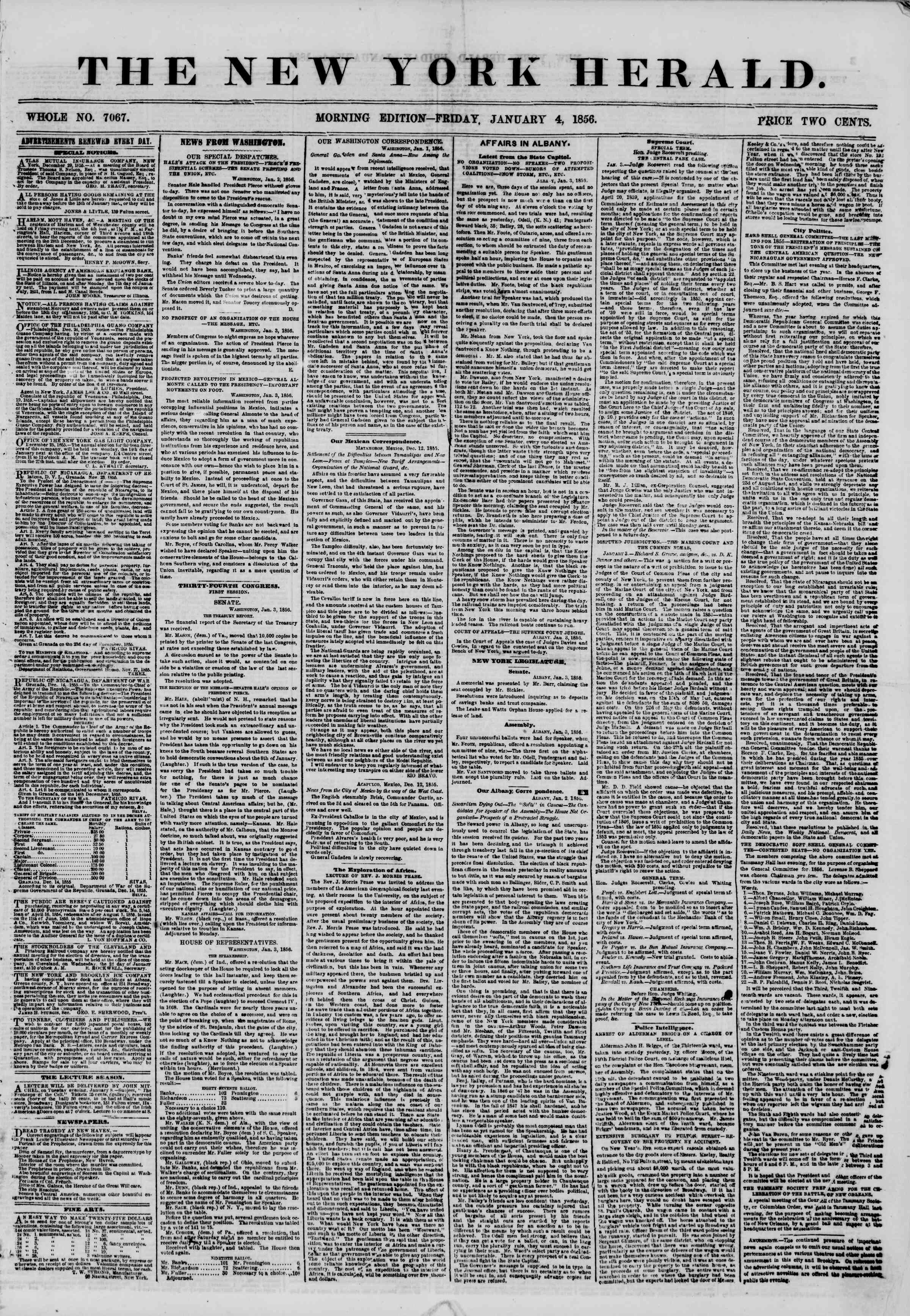 Newspaper of The New York Herald dated January 4, 1856 Page 1