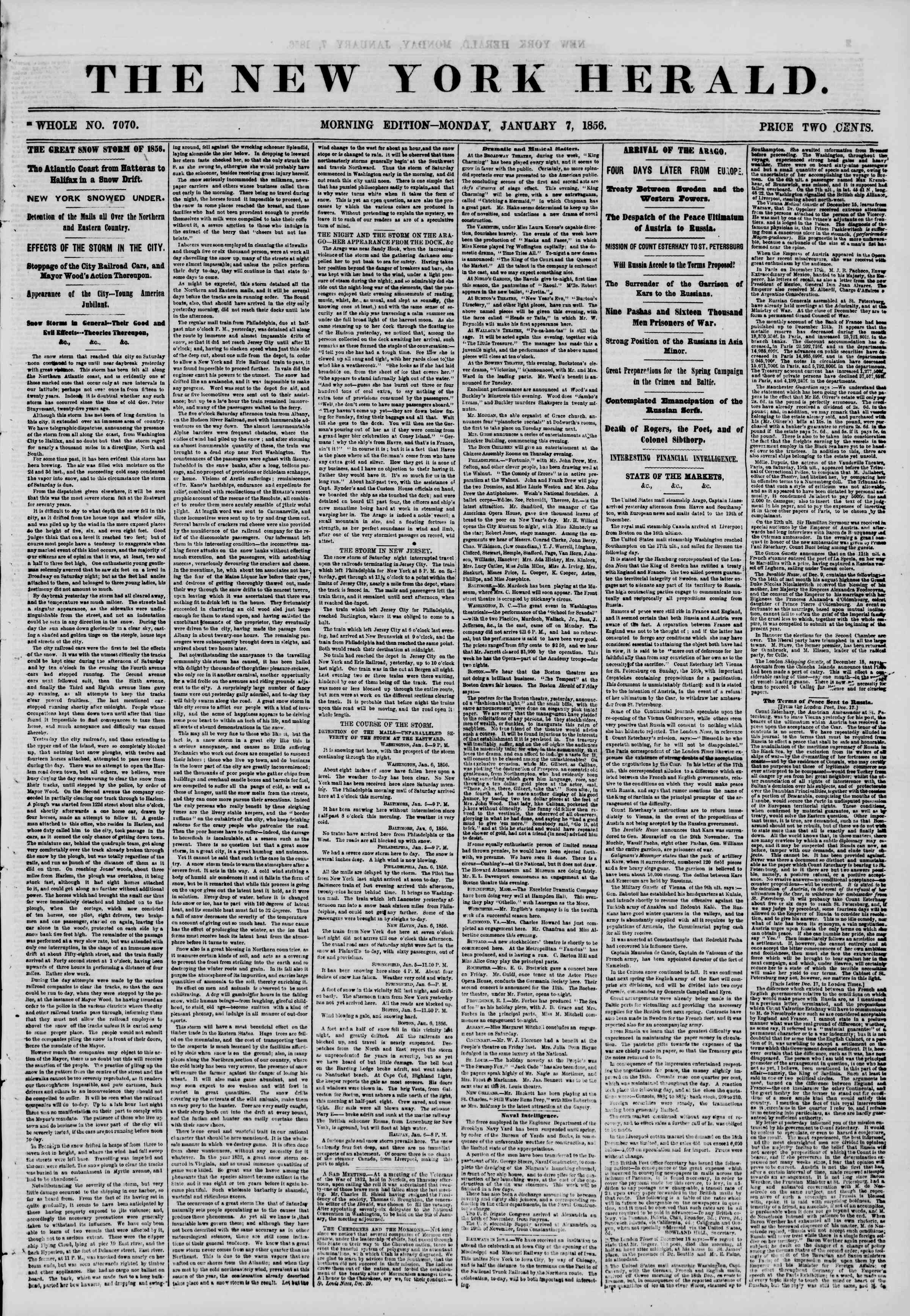 Newspaper of The New York Herald dated January 7, 1856 Page 1
