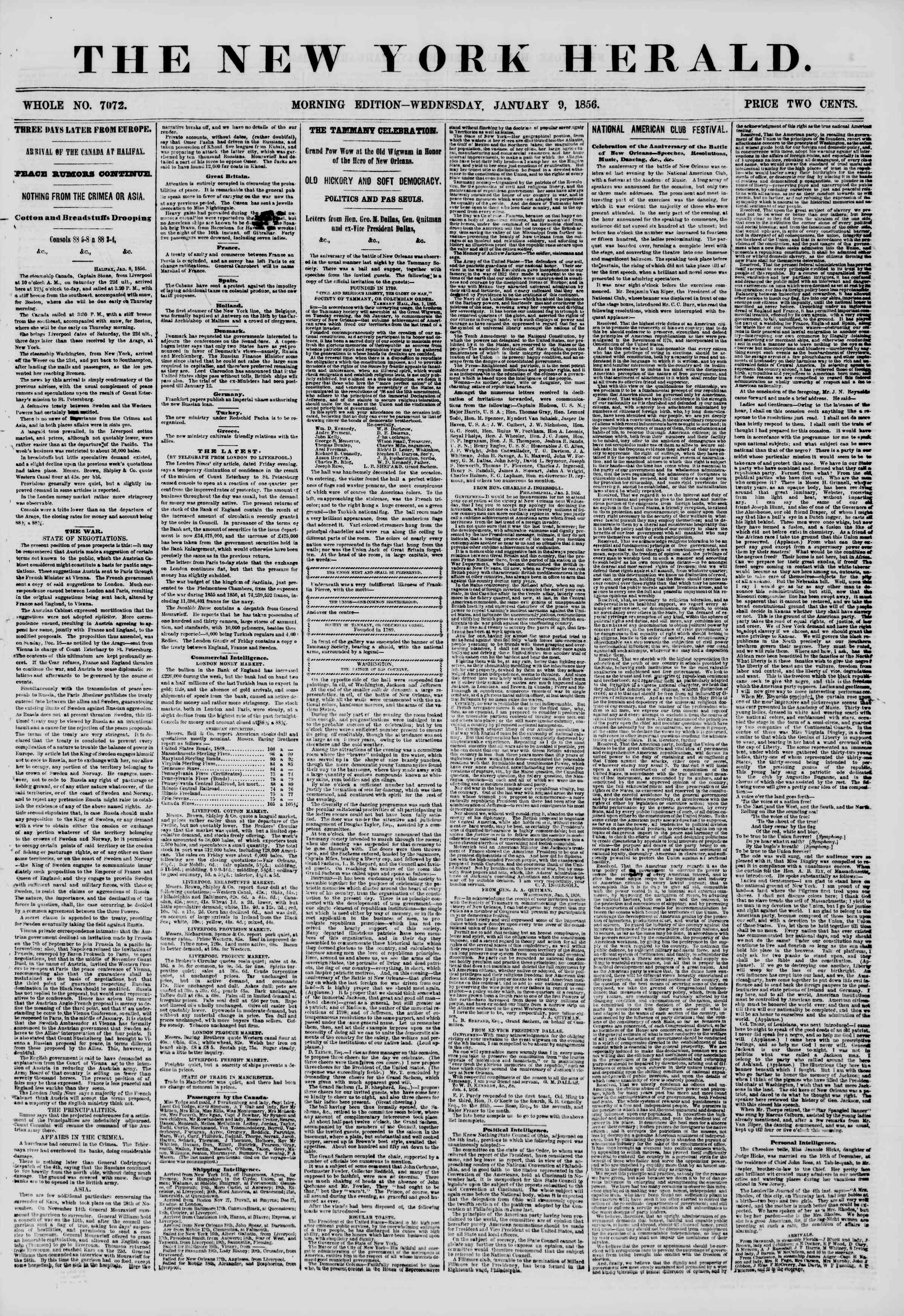 Newspaper of The New York Herald dated January 9, 1856 Page 1