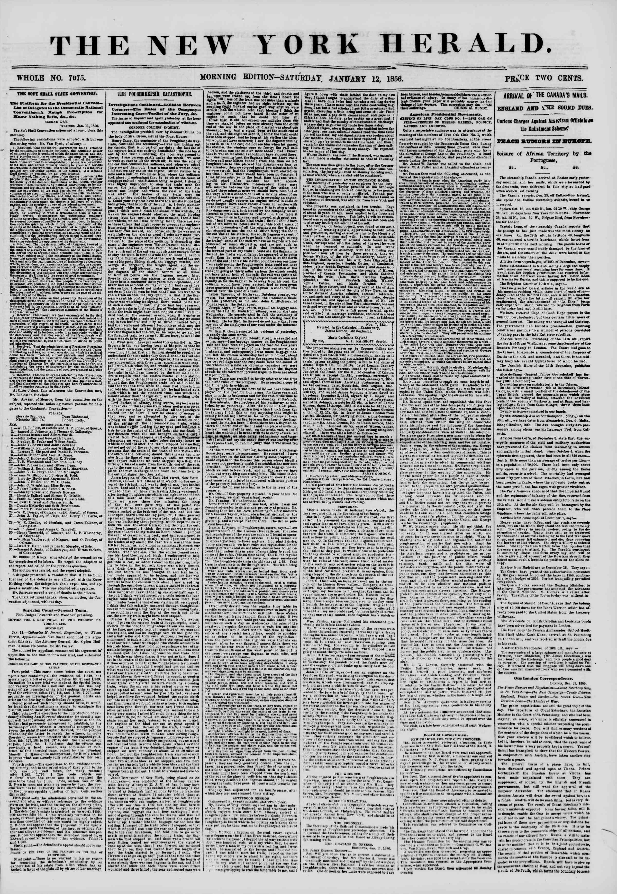 Newspaper of The New York Herald dated January 12, 1856 Page 1