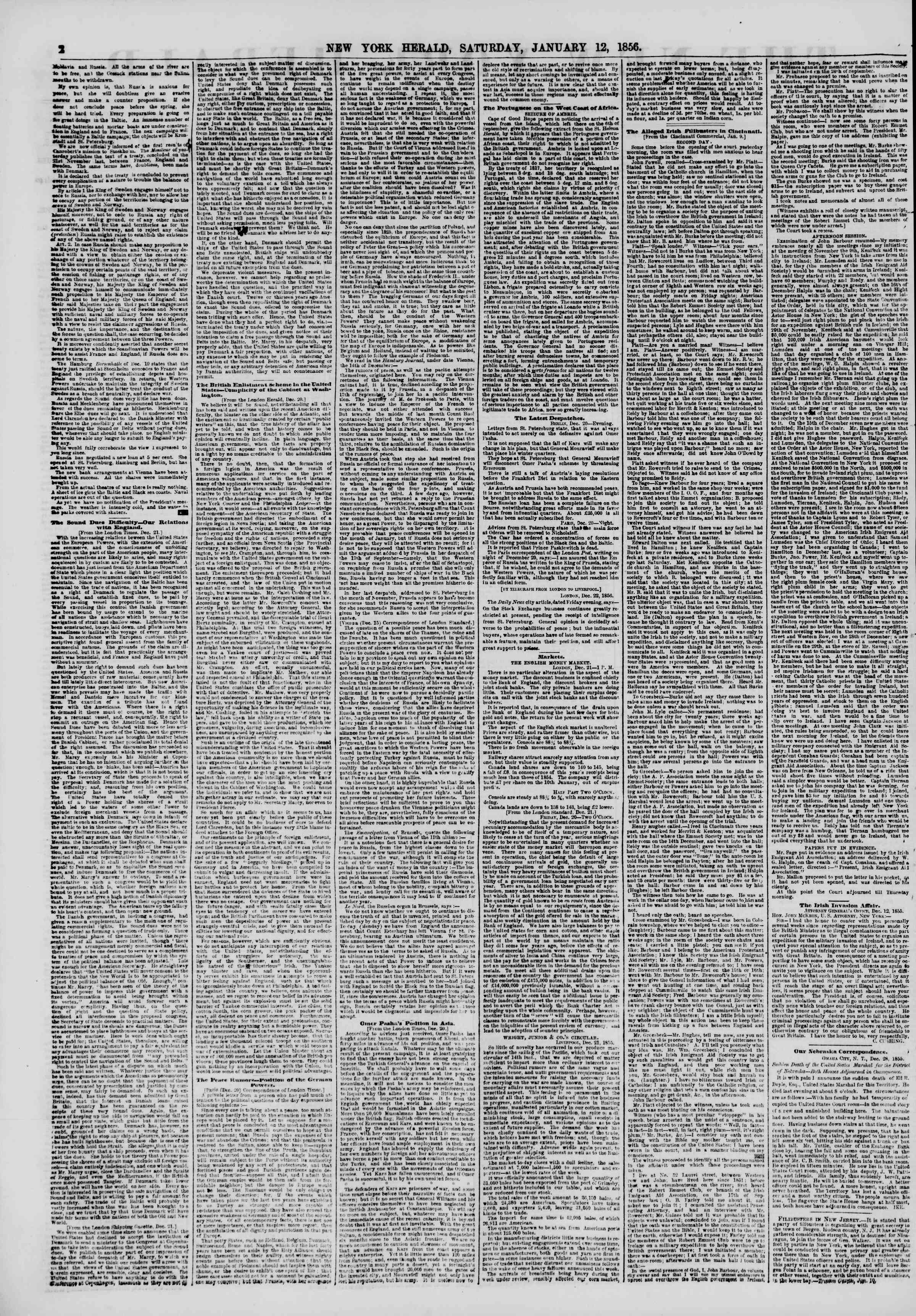 Newspaper of The New York Herald dated 12 Ocak 1856 Page 2