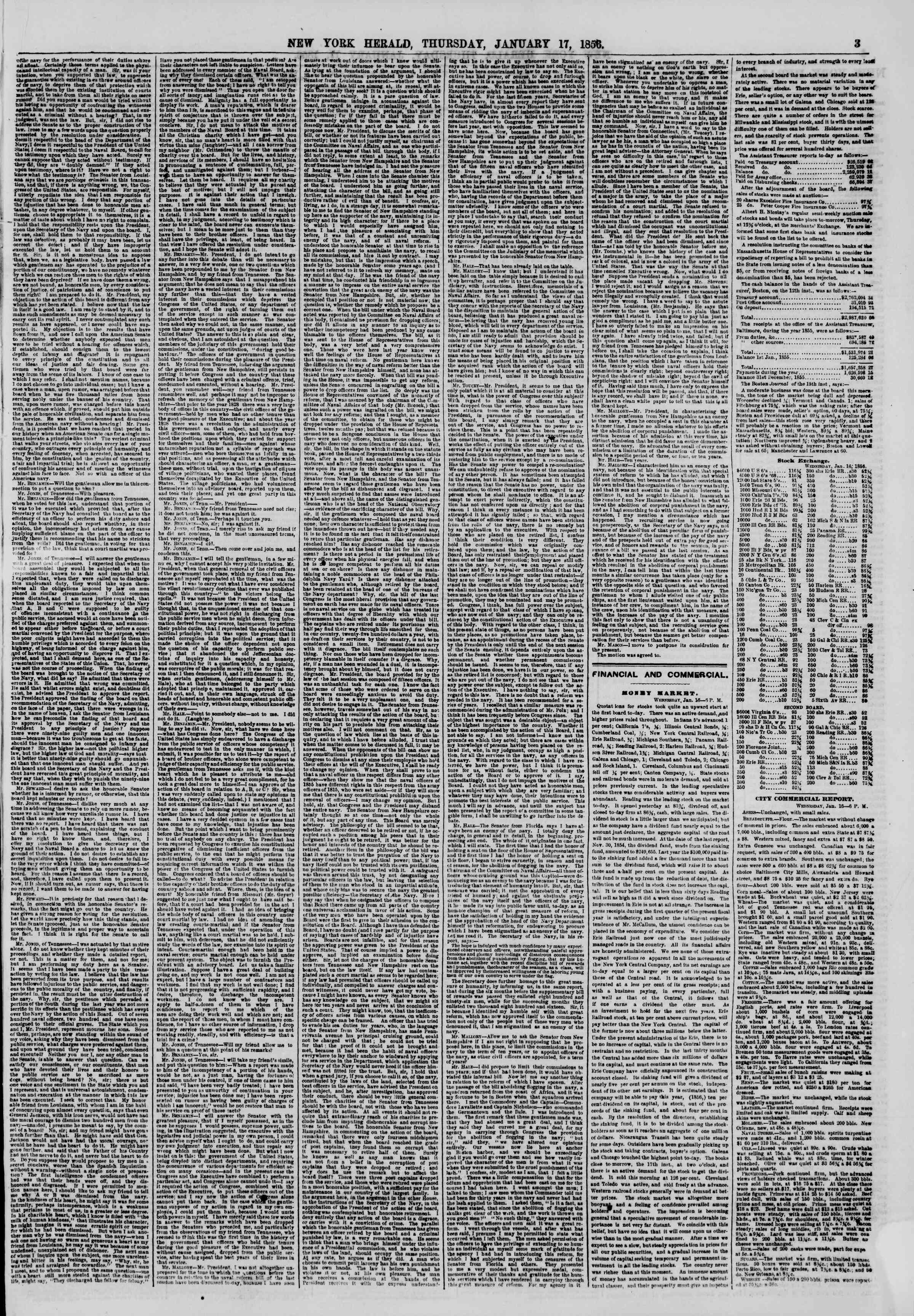 Newspaper of The New York Herald dated January 17, 1856 Page 3