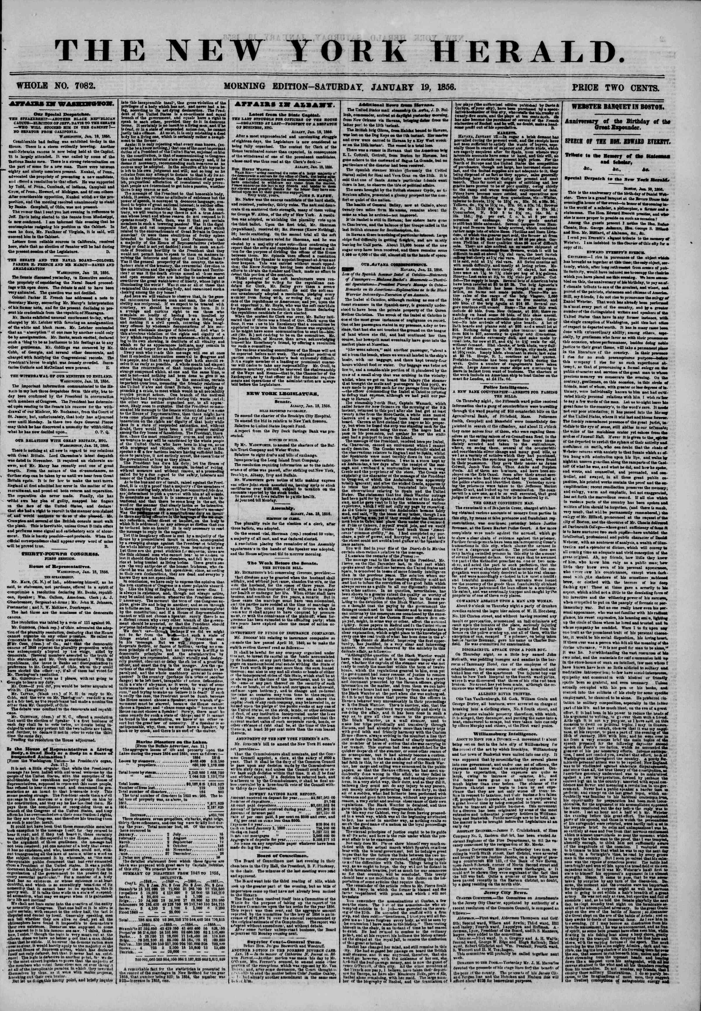 Newspaper of The New York Herald dated January 19, 1856 Page 1