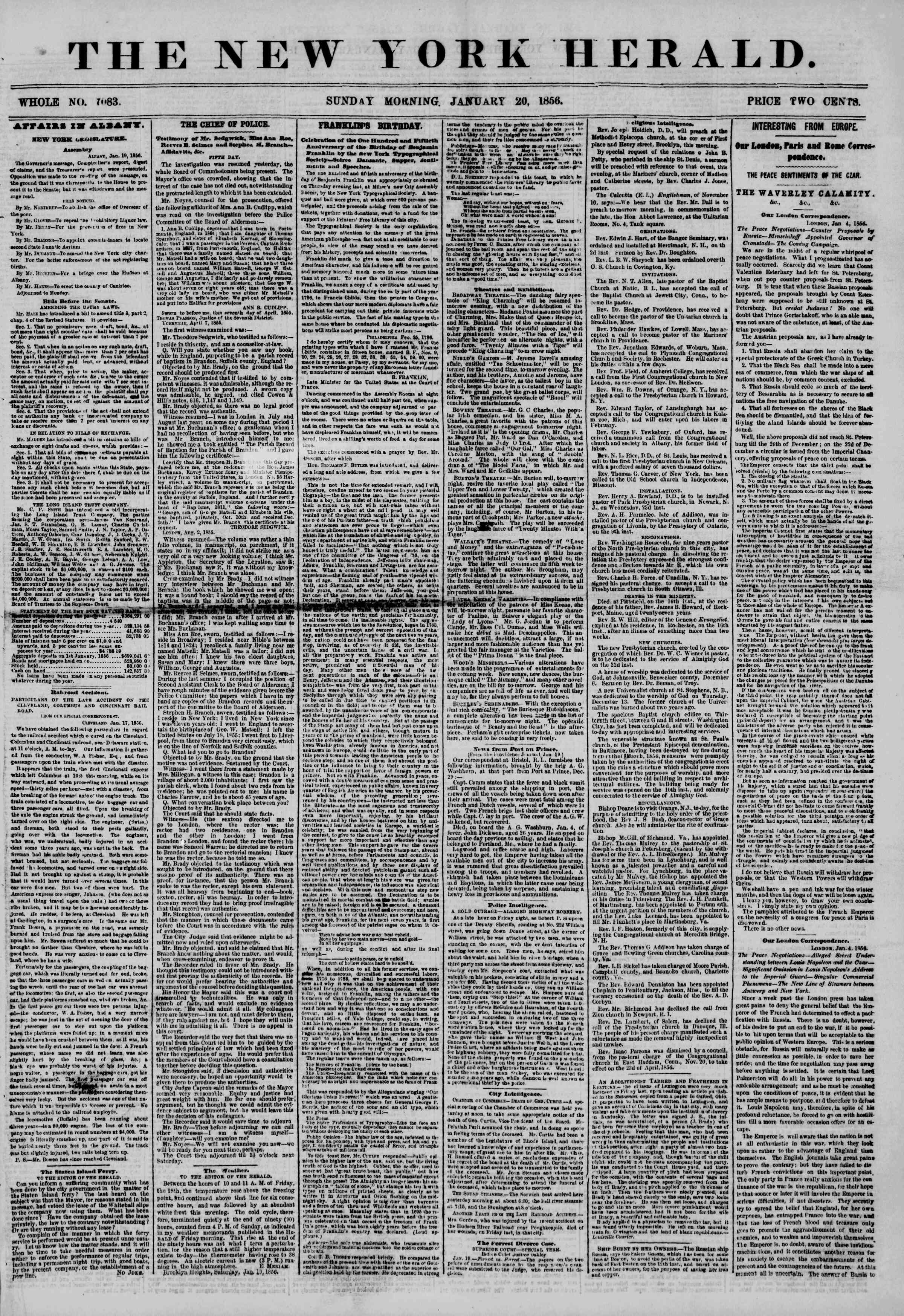 Newspaper of The New York Herald dated January 20, 1856 Page 1