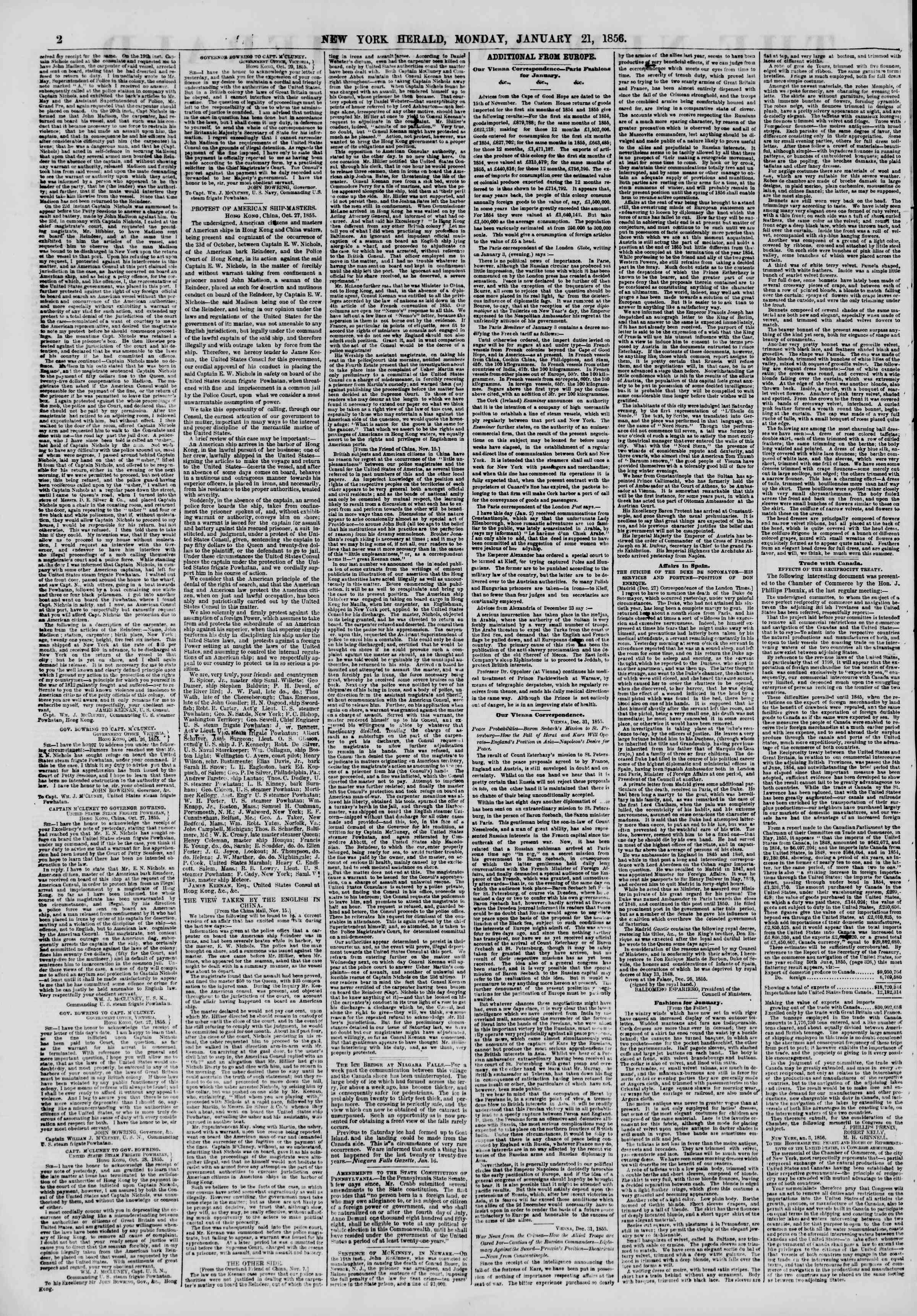 Newspaper of The New York Herald dated January 21, 1856 Page 2