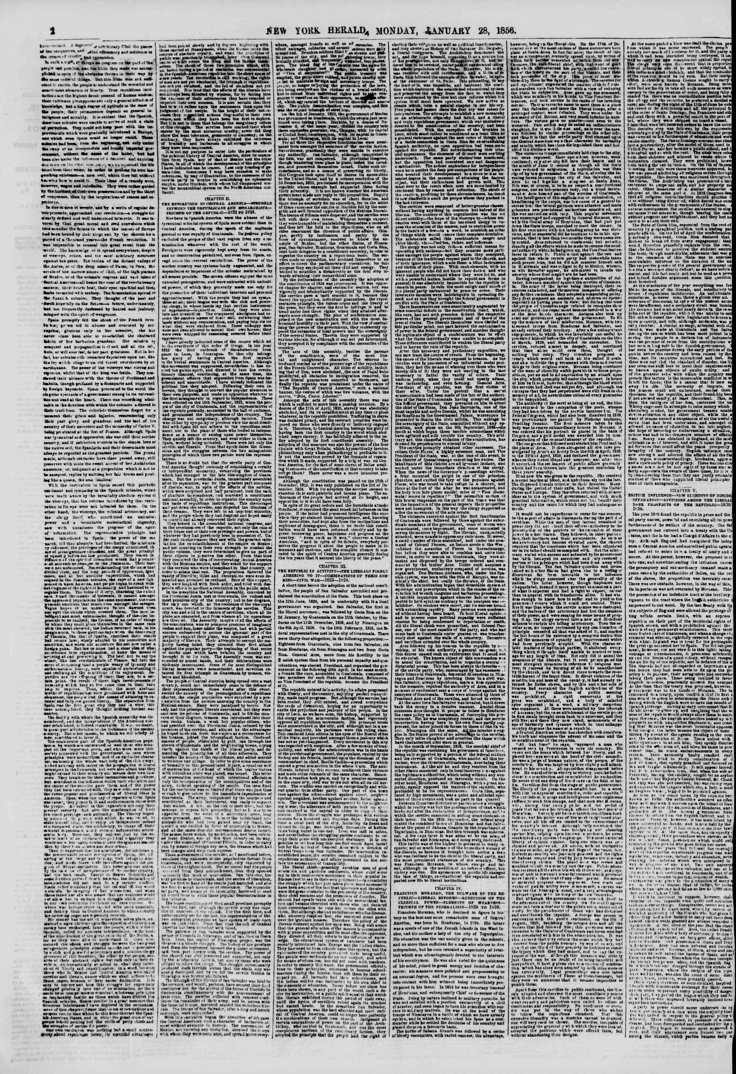 Newspaper of The New York Herald dated January 28, 1856 Page 2