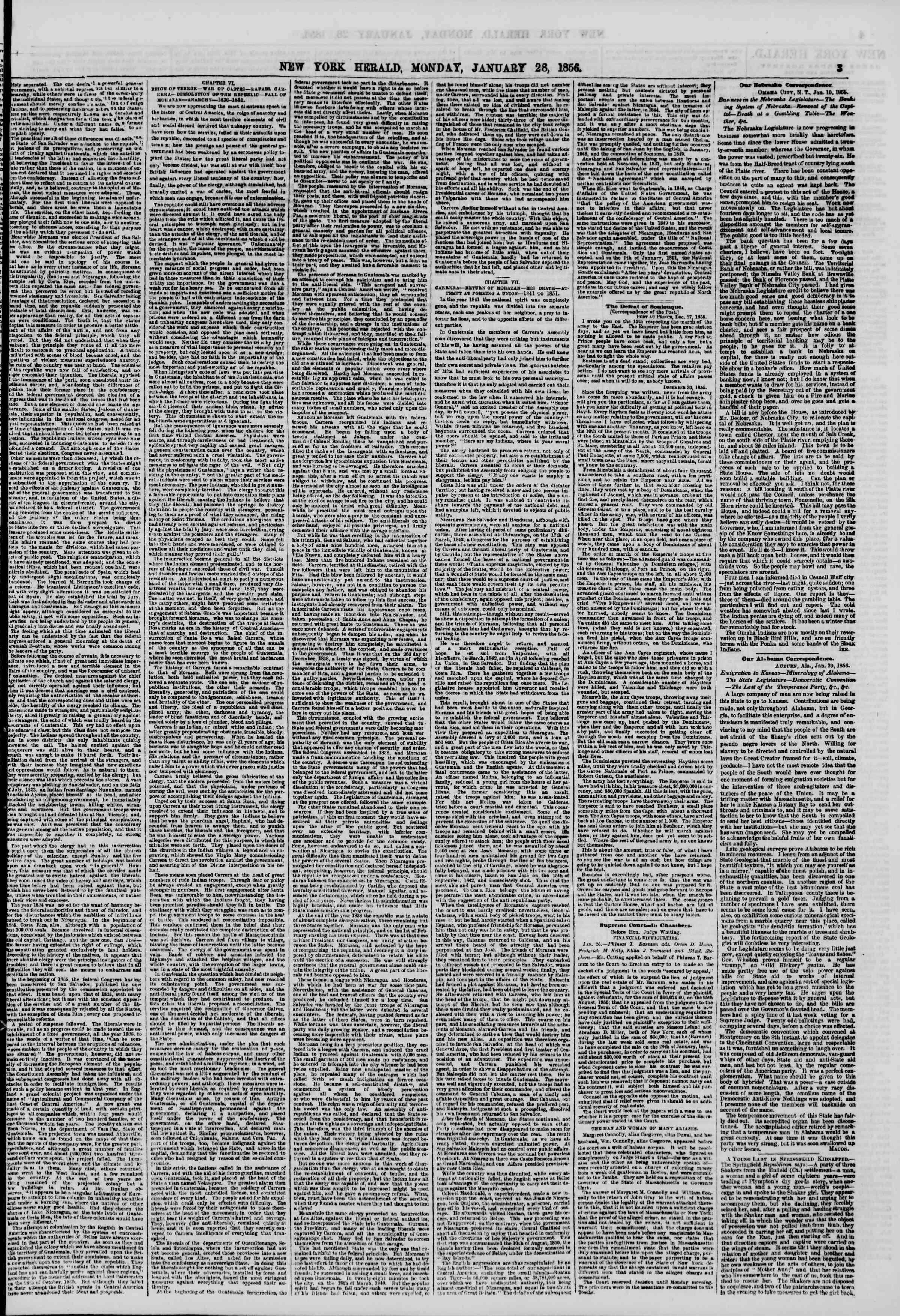Newspaper of The New York Herald dated January 28, 1856 Page 3