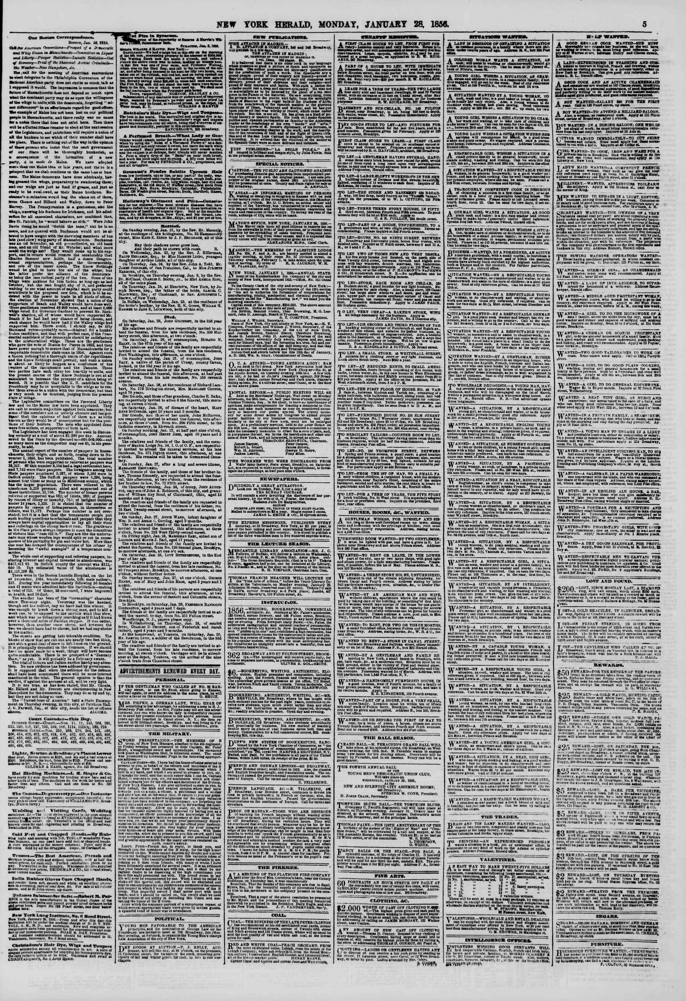 Newspaper of The New York Herald dated January 28, 1856 Page 5