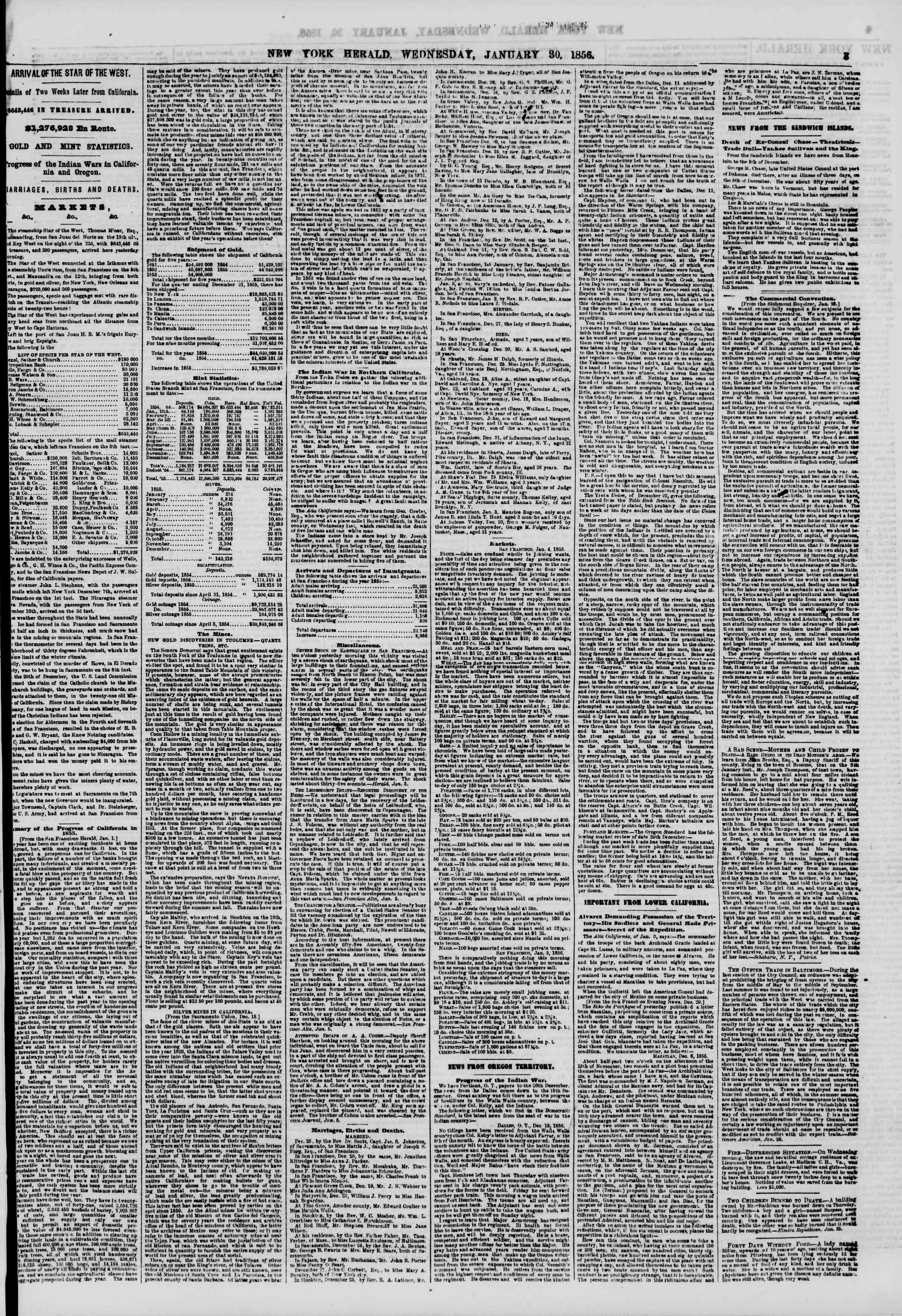 Newspaper of The New York Herald dated January 30, 1856 Page 3