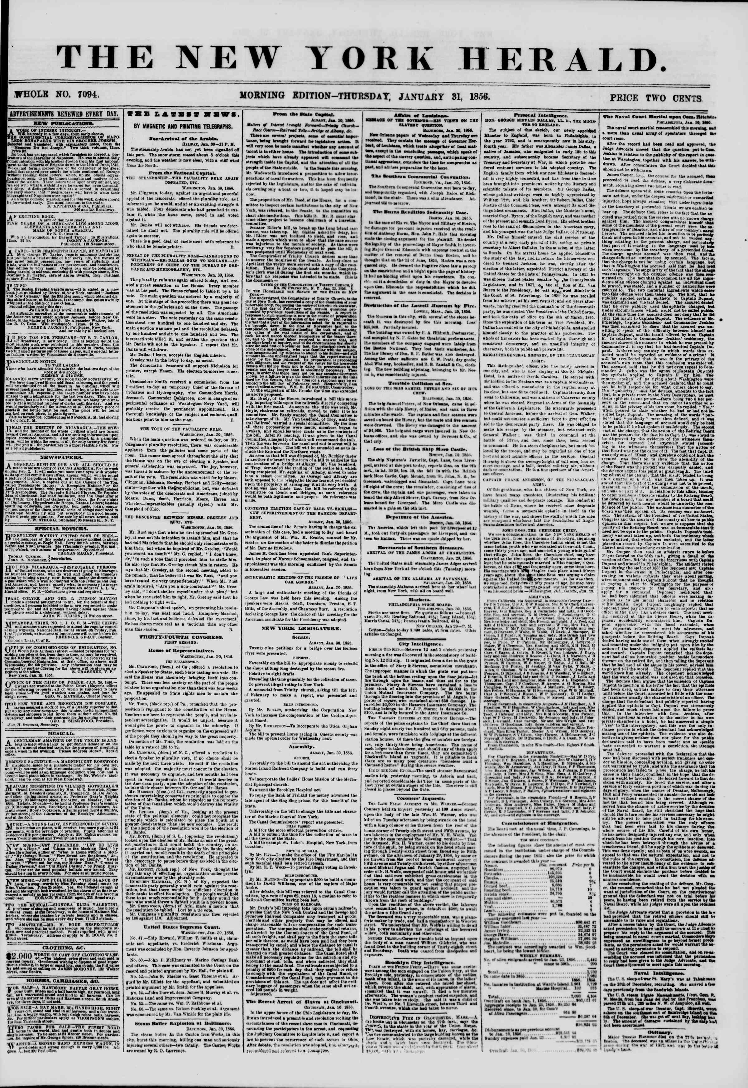 Newspaper of The New York Herald dated January 31, 1856 Page 1
