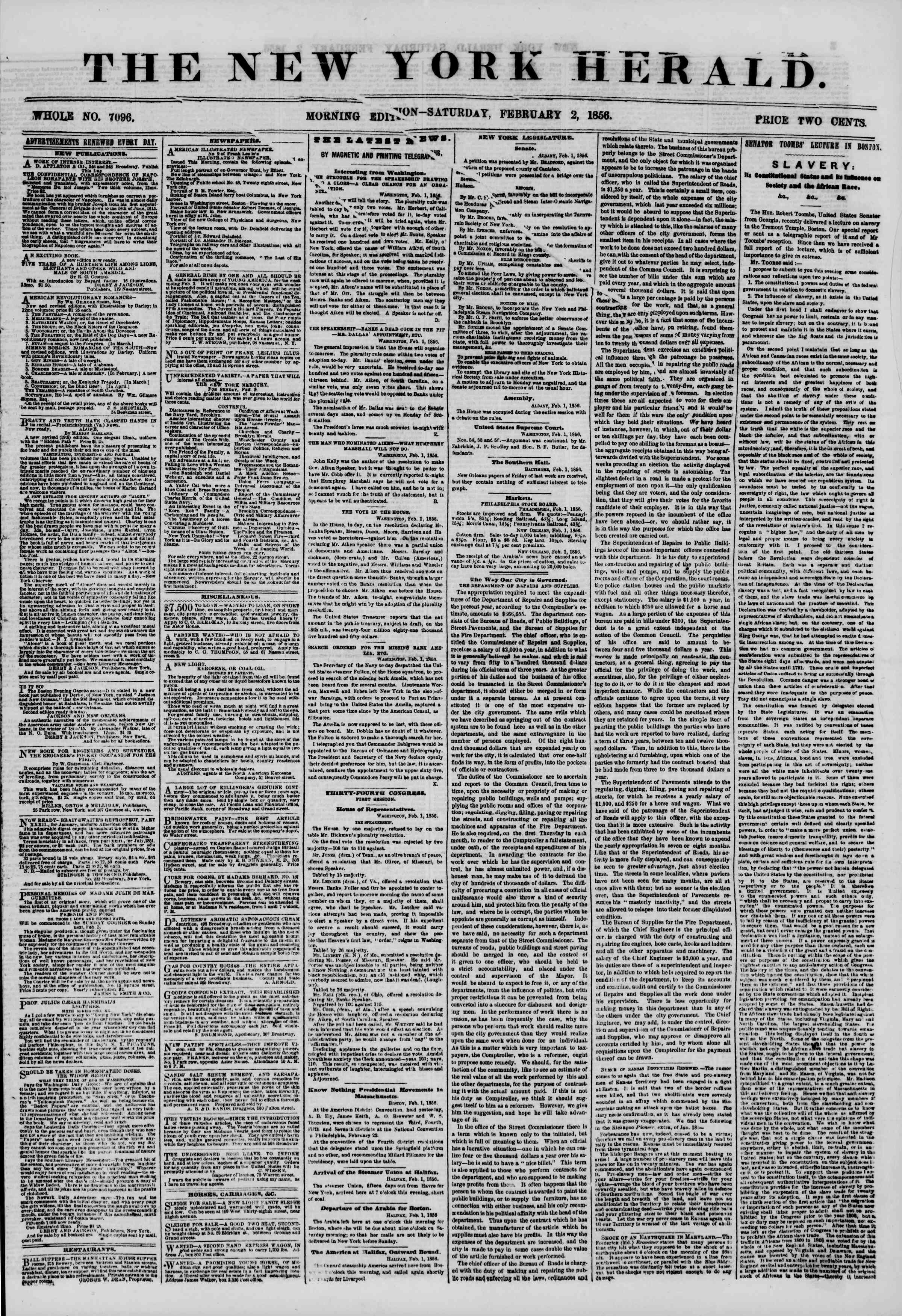 Newspaper of The New York Herald dated February 2, 1856 Page 1