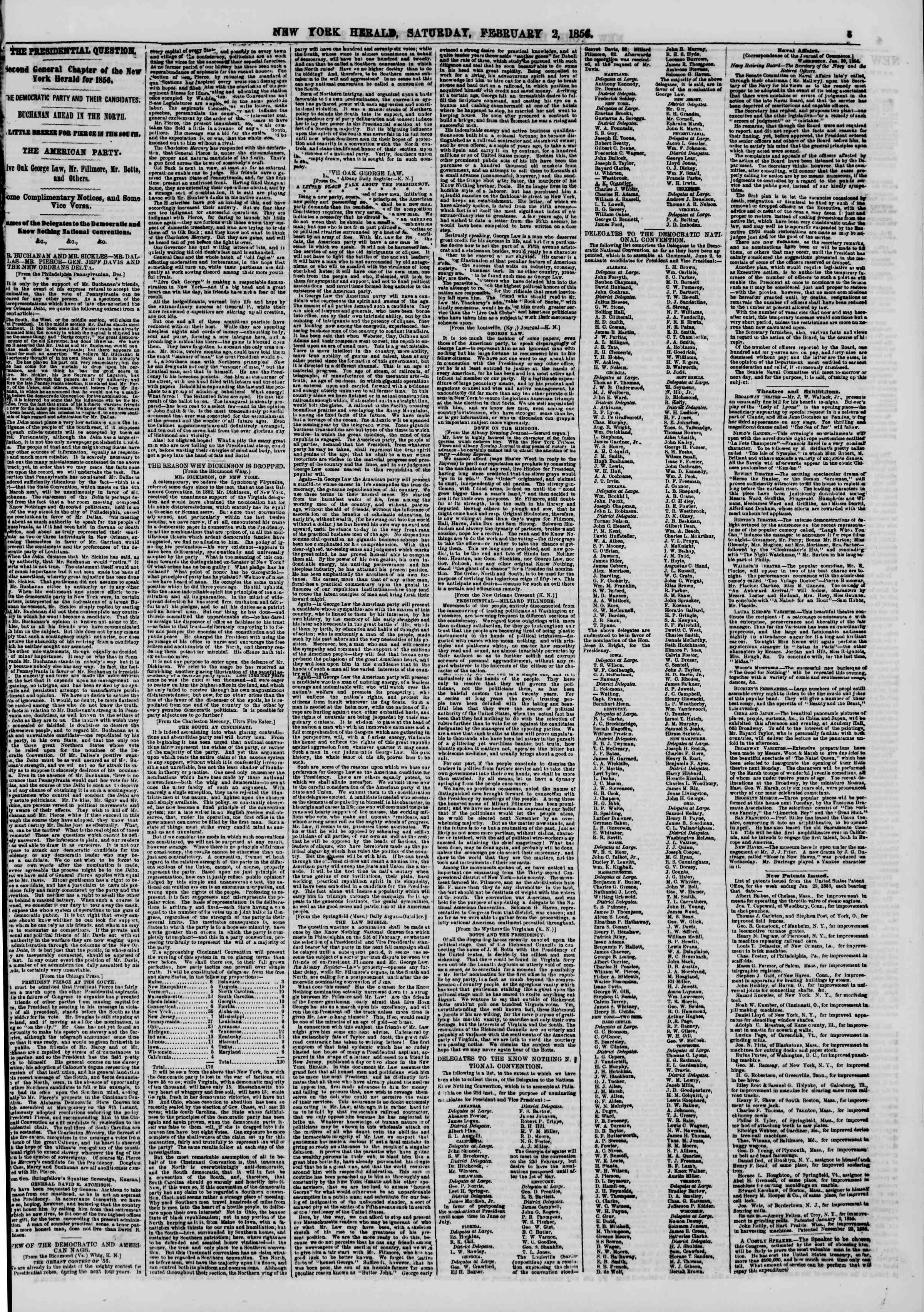Newspaper of The New York Herald dated February 2, 1856 Page 3