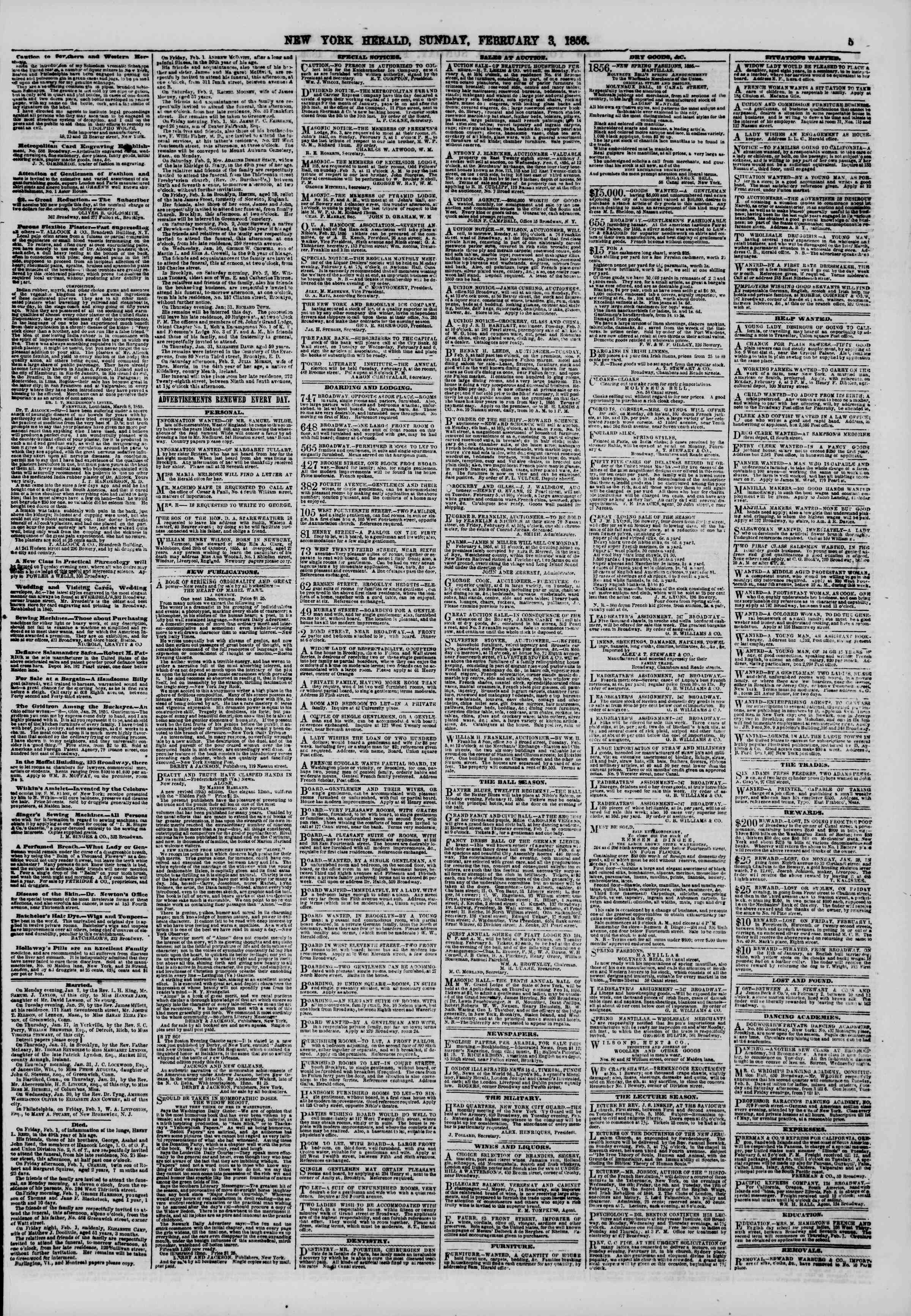 Newspaper of The New York Herald dated February 3, 1856 Page 5