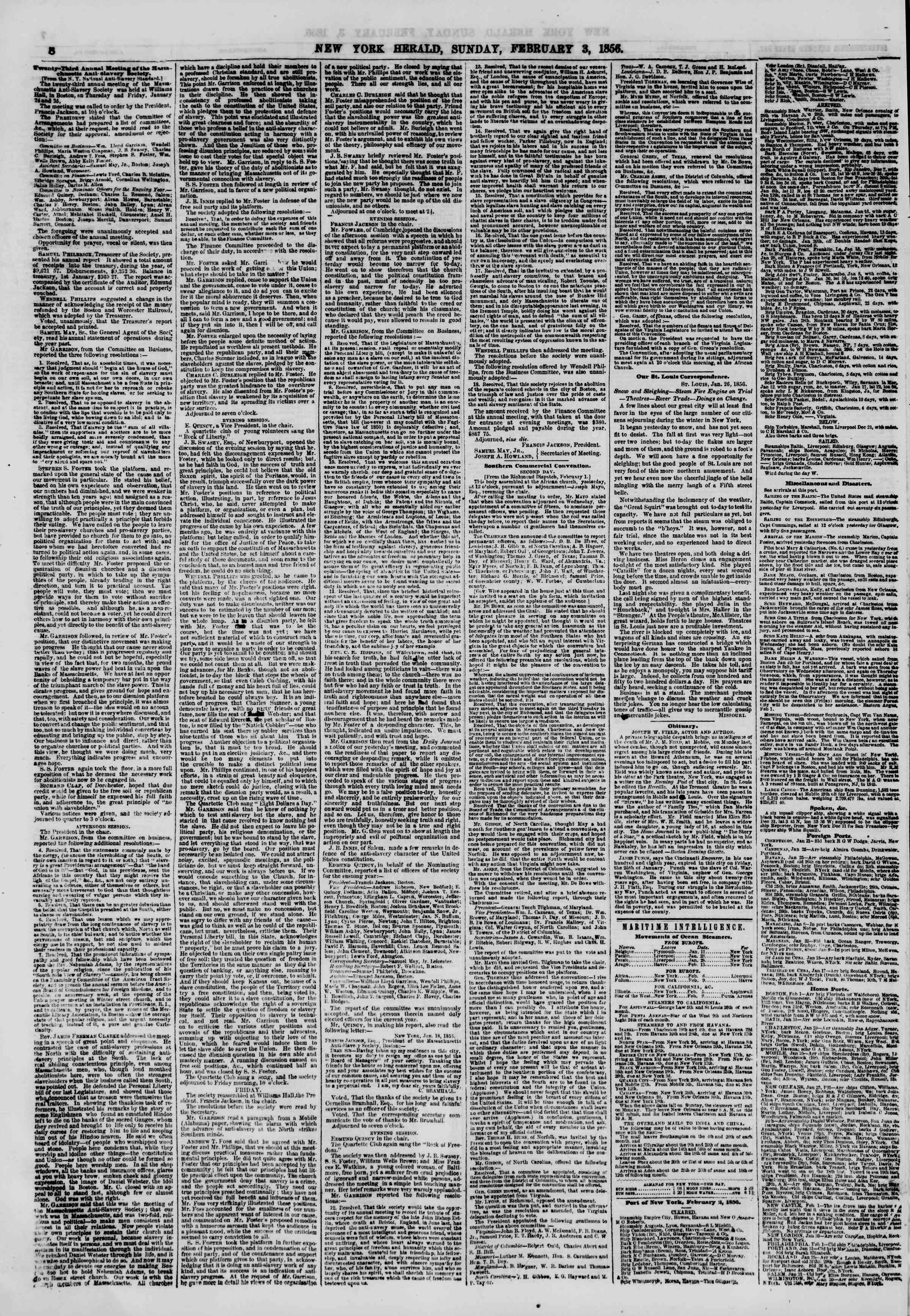 Newspaper of The New York Herald dated February 3, 1856 Page 8