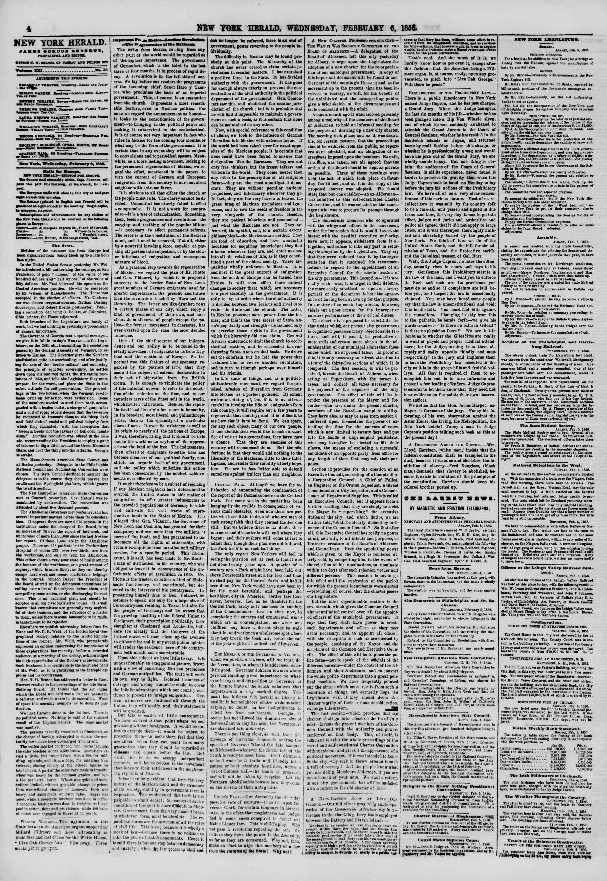Newspaper of The New York Herald dated February 6, 1856 Page 4