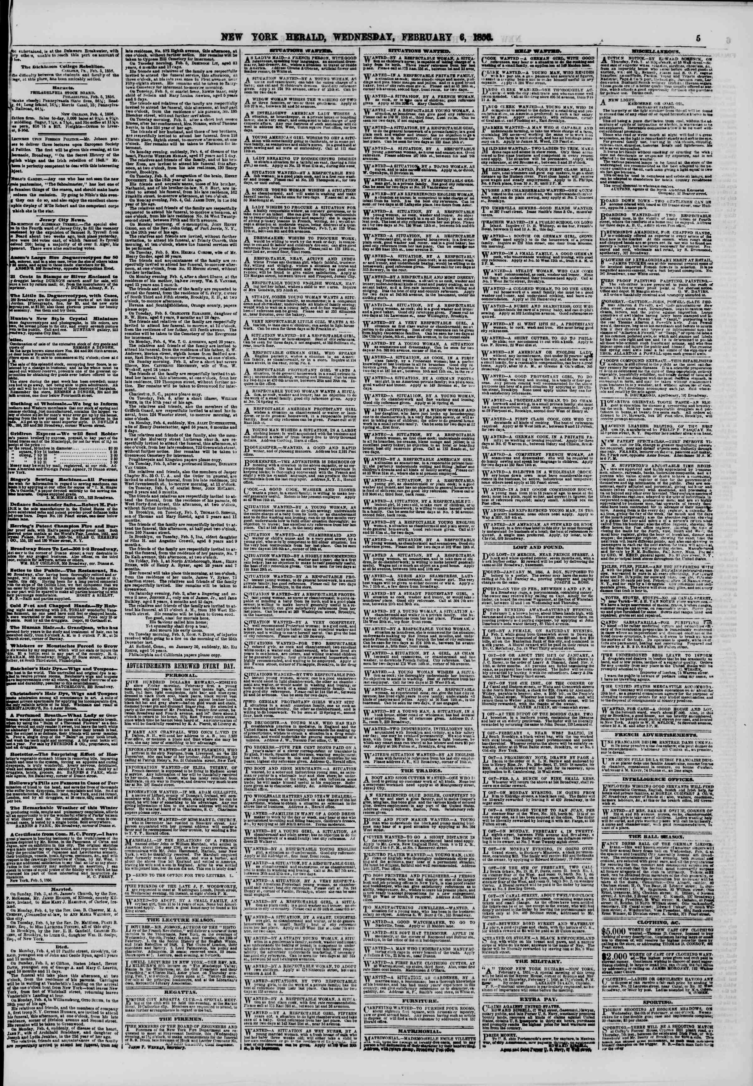 6 Şubat 1856 tarihli The New York Herald Gazetesi Sayfa 5