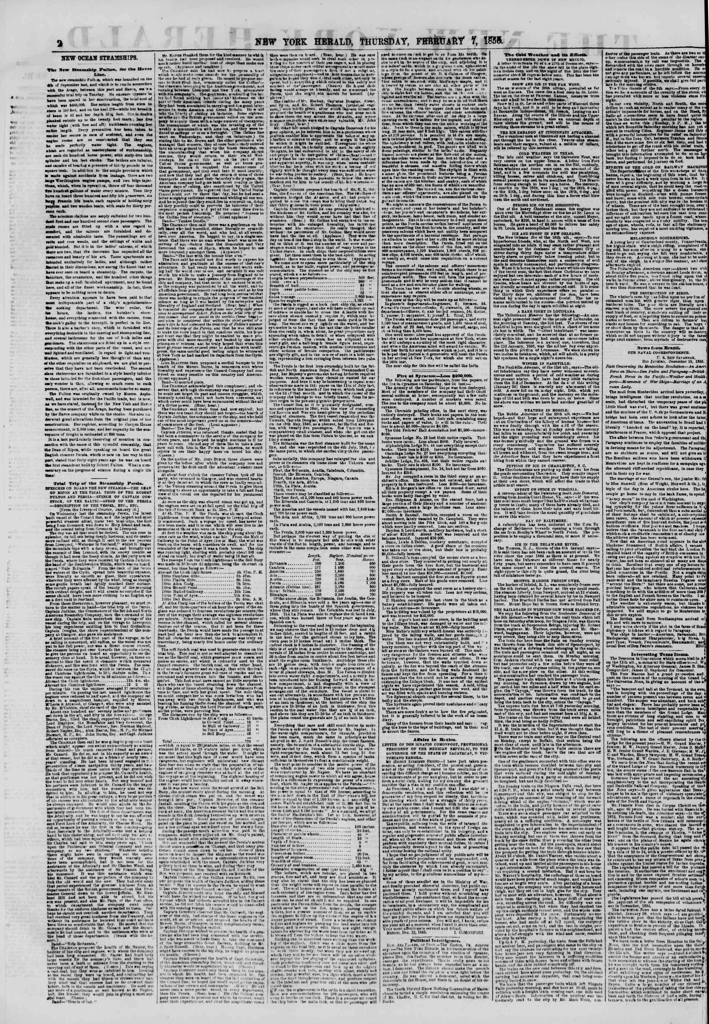 Newspaper of The New York Herald dated February 7, 1856 Page 2