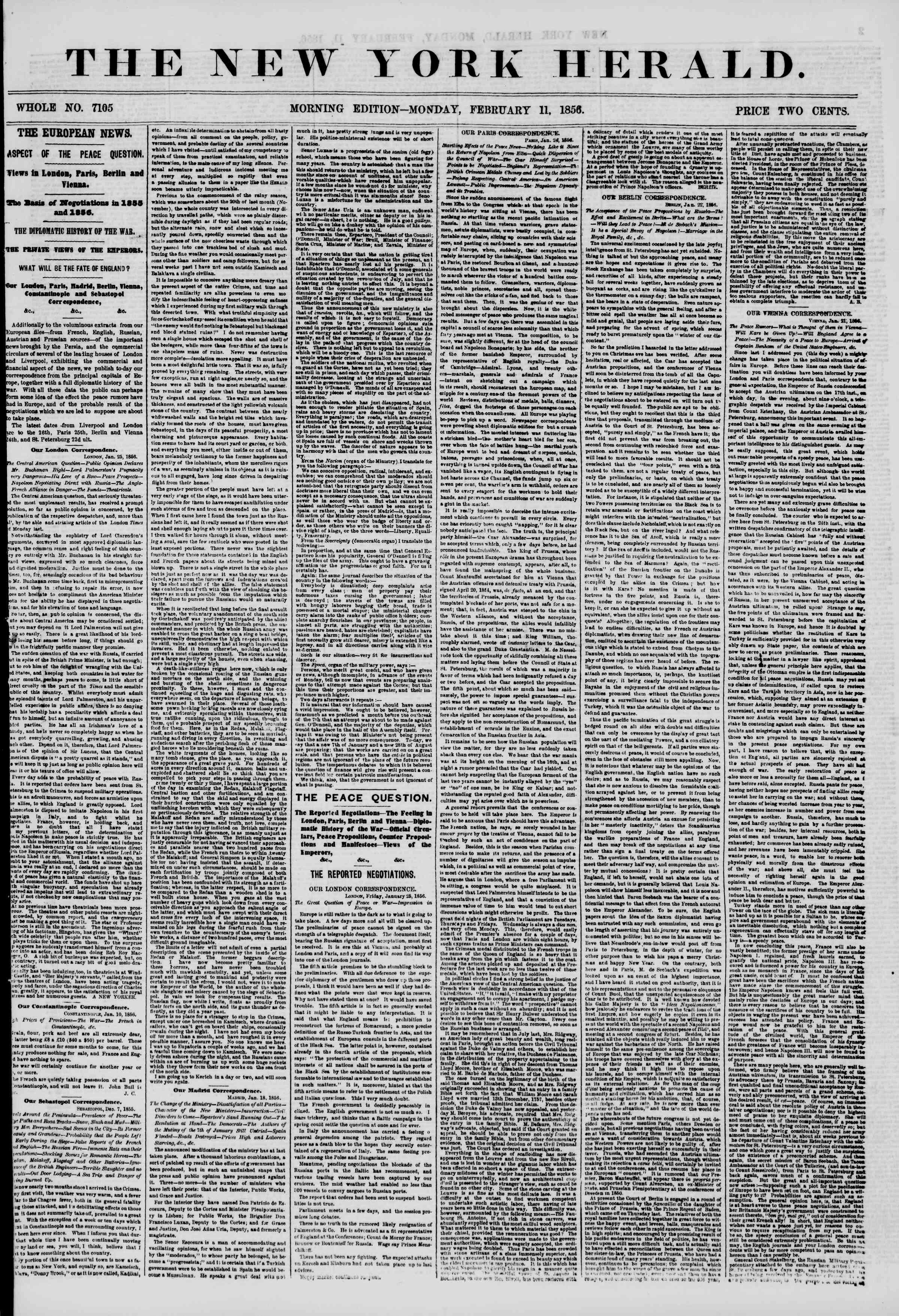 Newspaper of The New York Herald dated February 11, 1856 Page 1