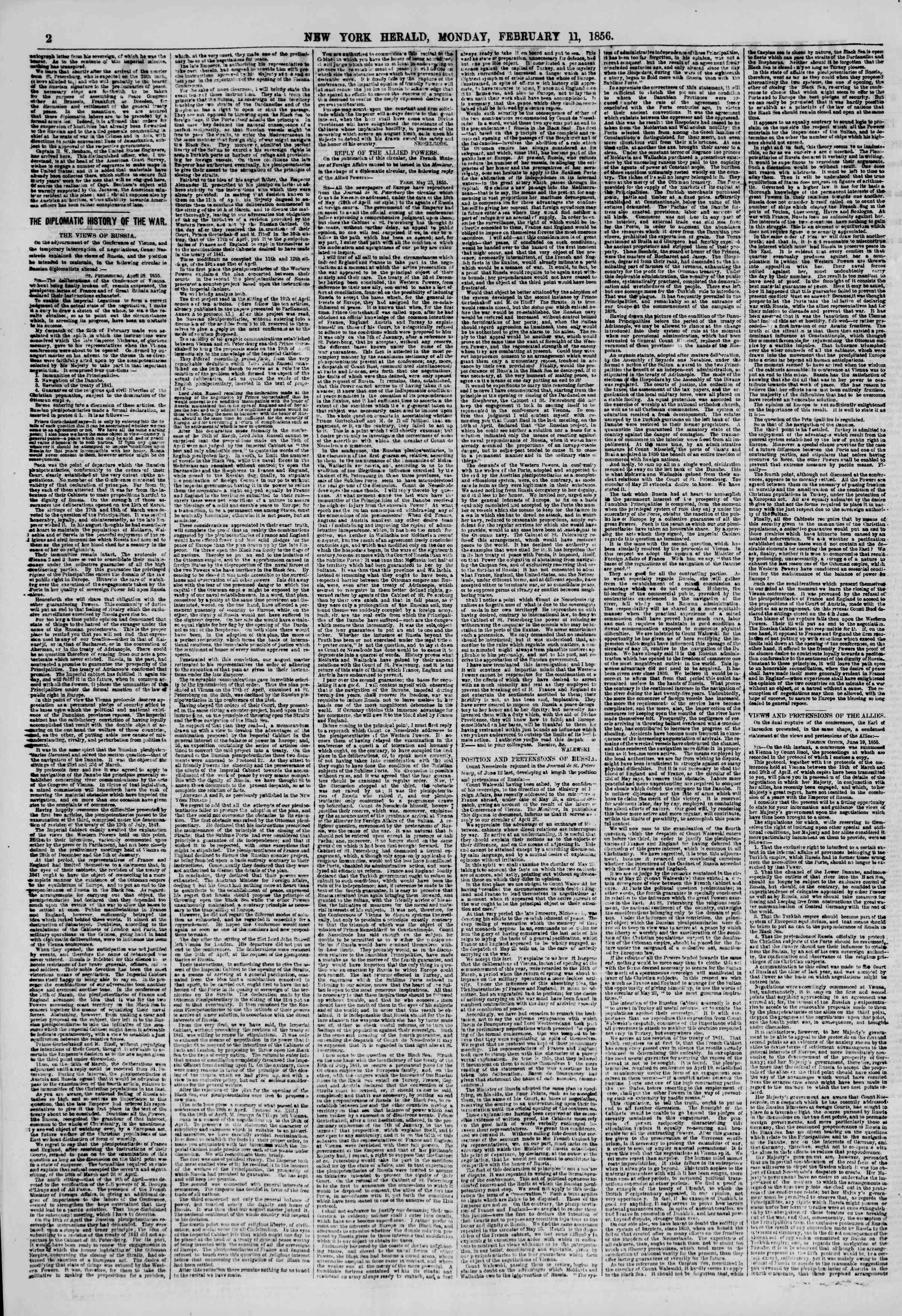 Newspaper of The New York Herald dated February 11, 1856 Page 2