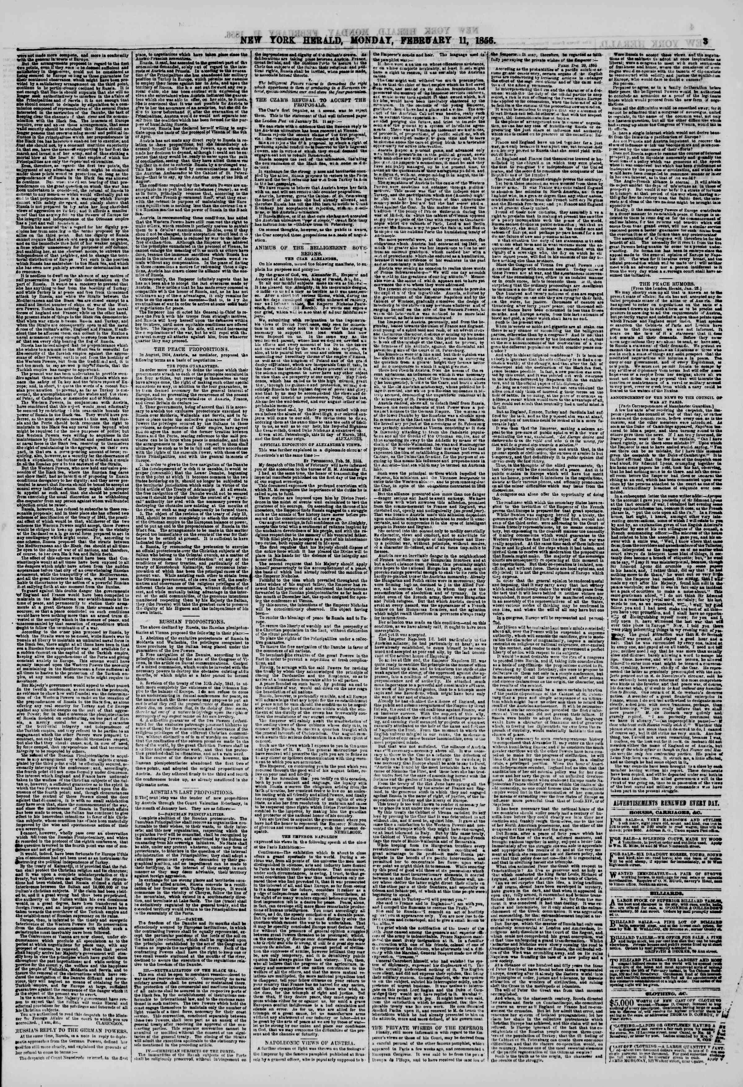 Newspaper of The New York Herald dated February 11, 1856 Page 3