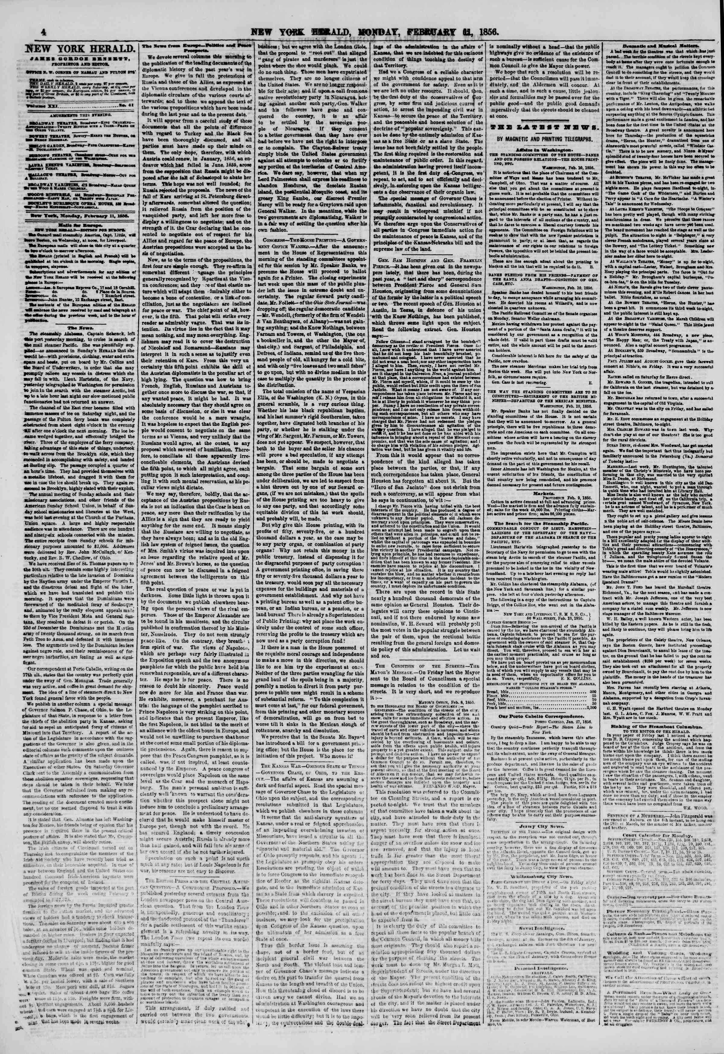 Newspaper of The New York Herald dated February 11, 1856 Page 4