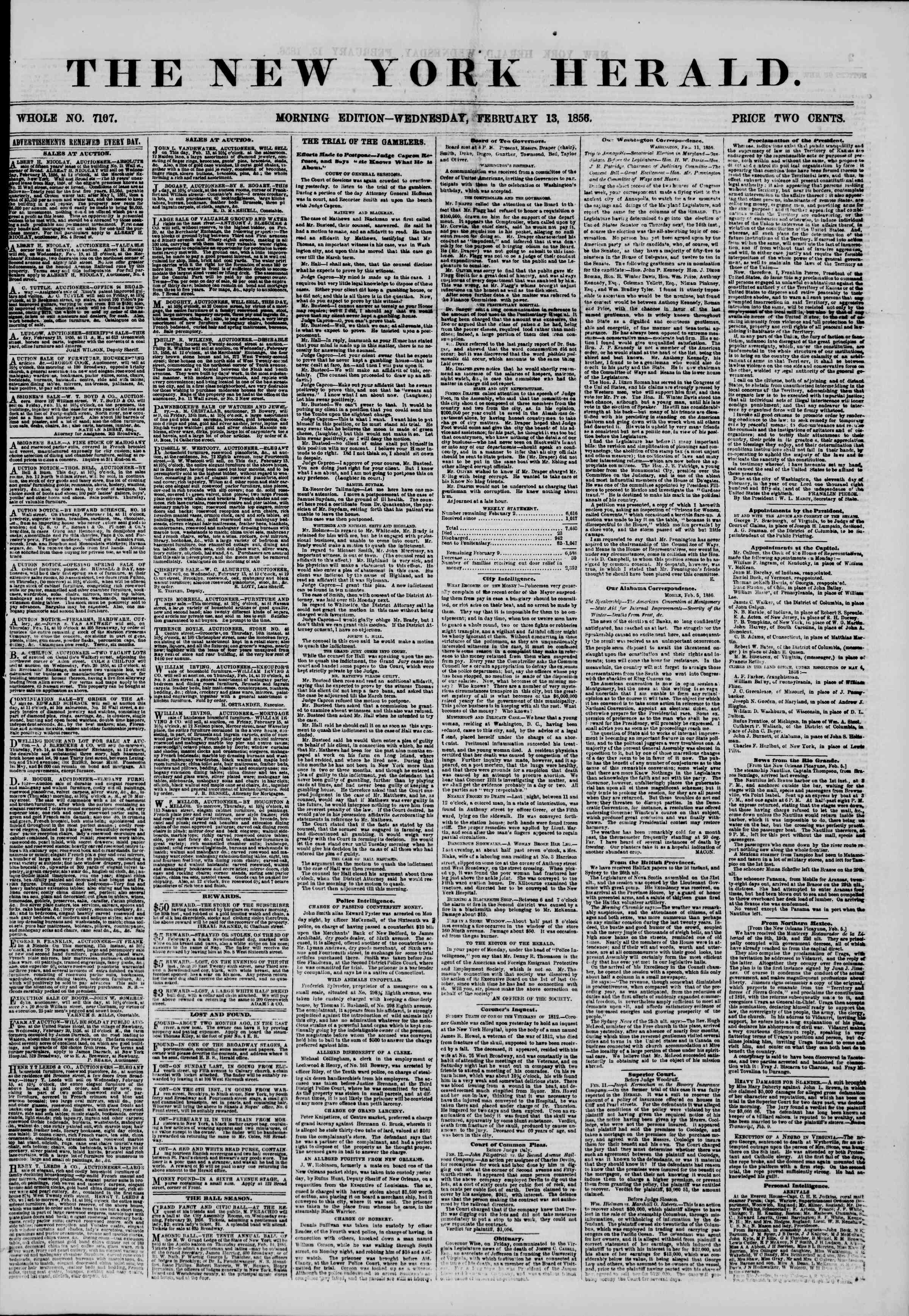 Newspaper of The New York Herald dated February 13, 1856 Page 1