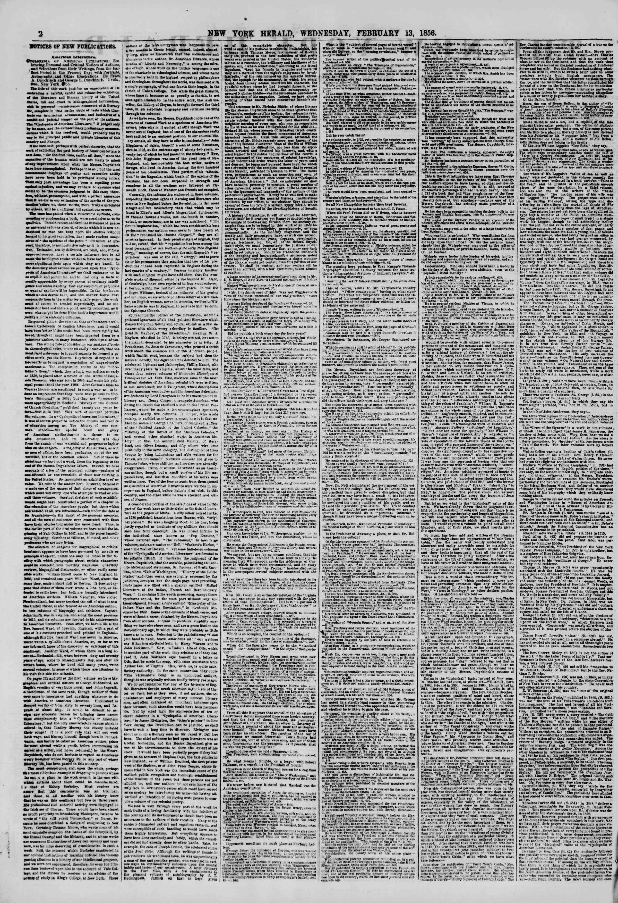 Newspaper of The New York Herald dated February 13, 1856 Page 2