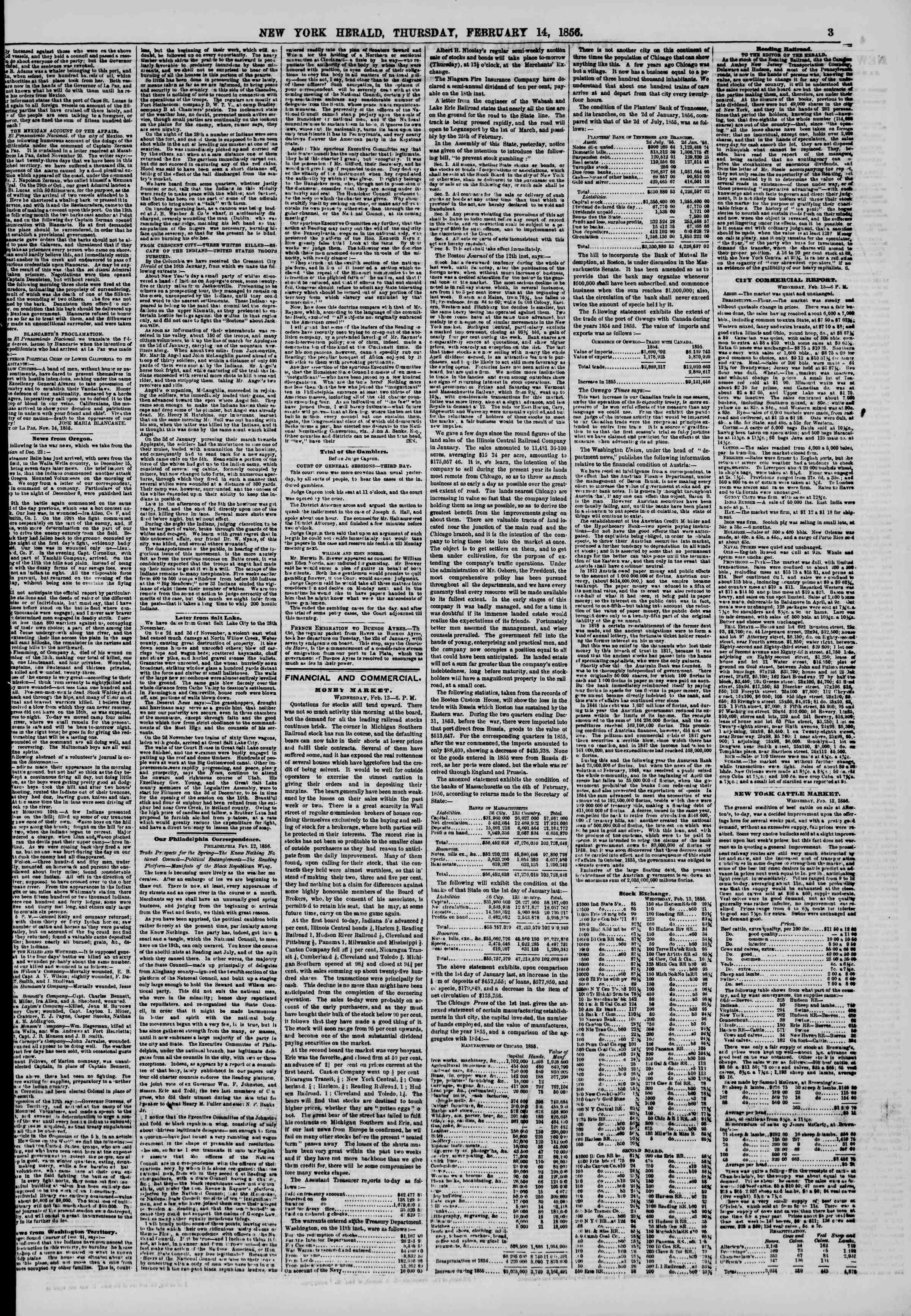 Newspaper of The New York Herald dated February 14, 1856 Page 3