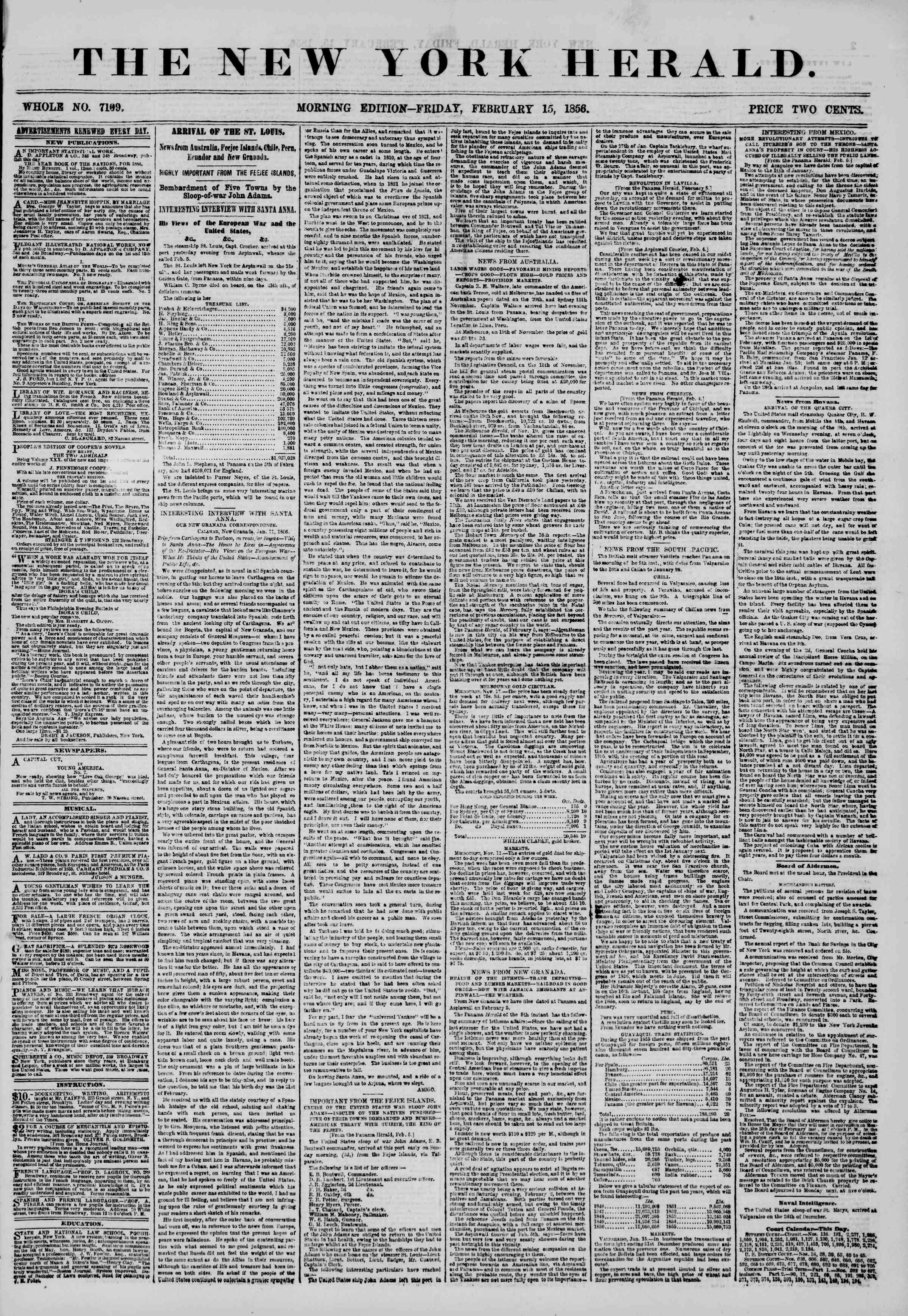 Newspaper of The New York Herald dated February 15, 1856 Page 1