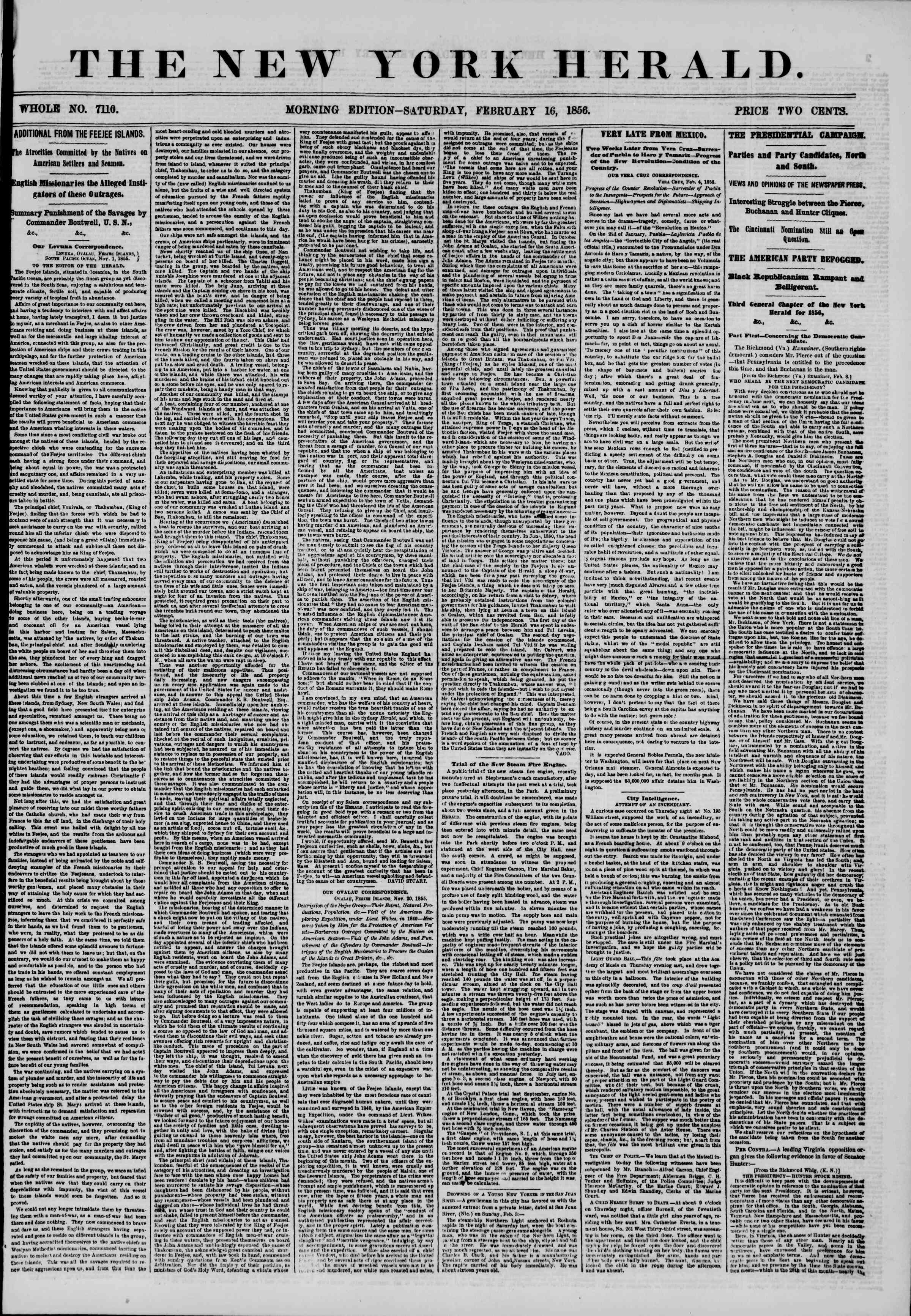 Newspaper of The New York Herald dated February 16, 1856 Page 1